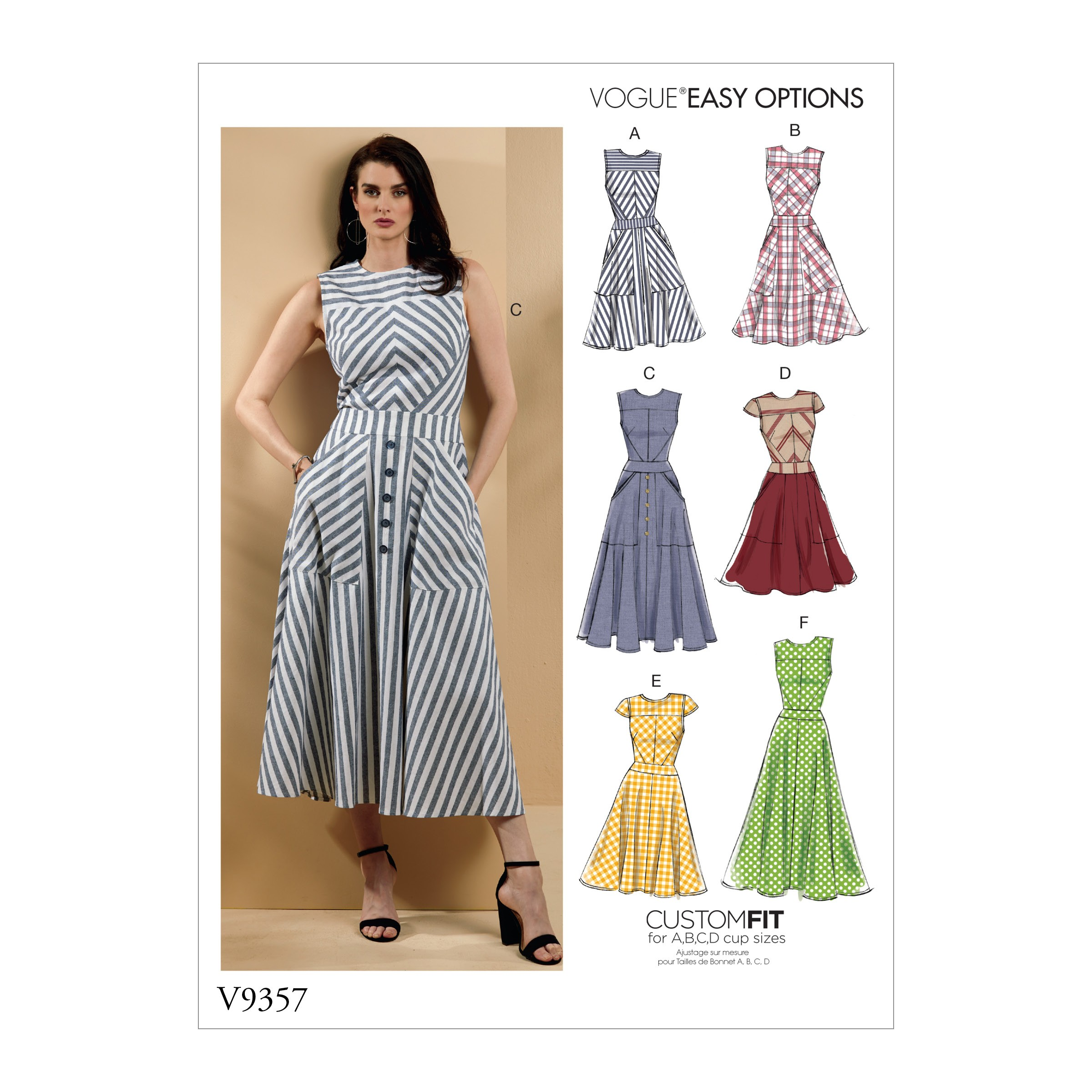 Vogue Sewing Pattern V9357 Women's Fit and Flare Panelled Dress