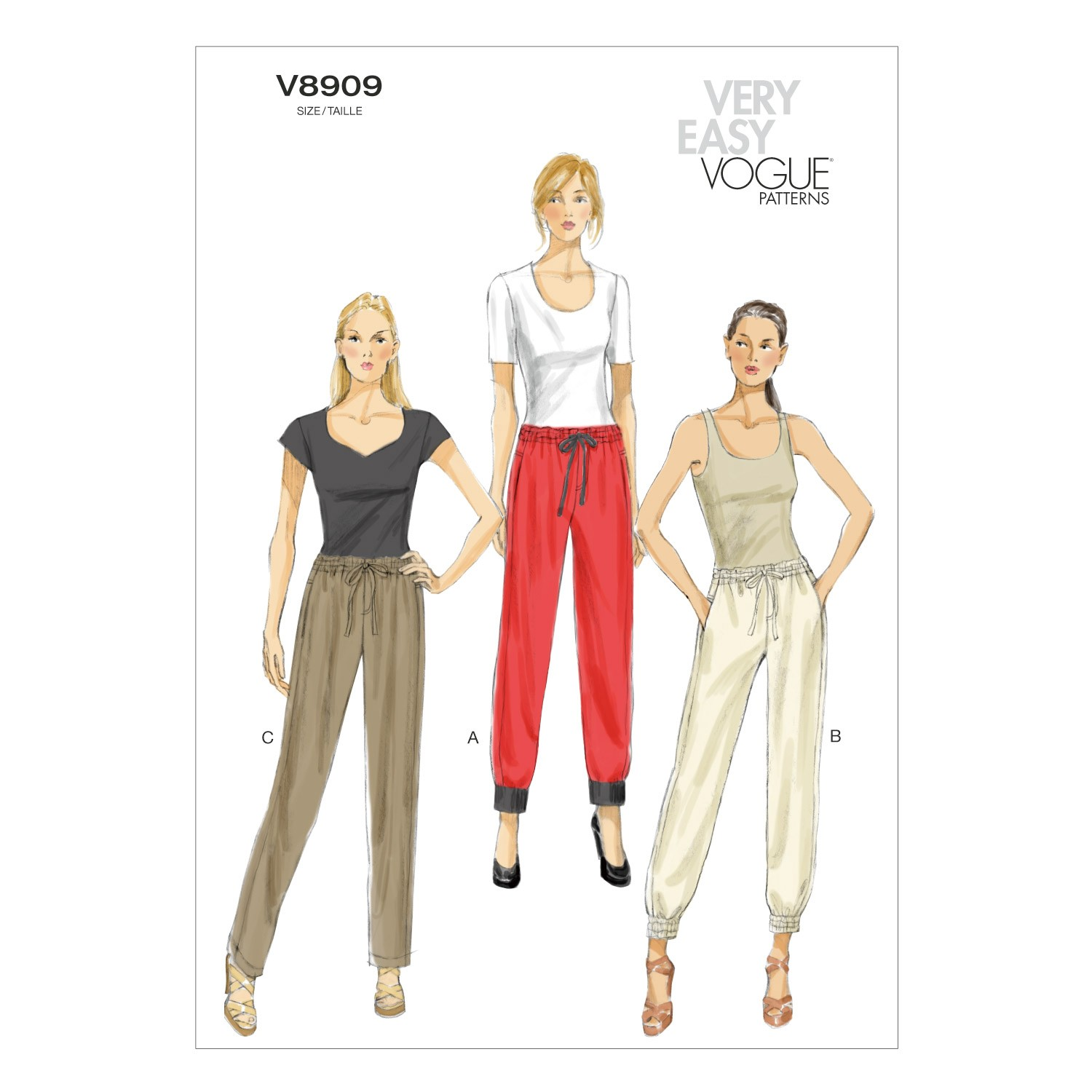 Vogue Sewing Pattern V8909 Women's Draw String Trousers