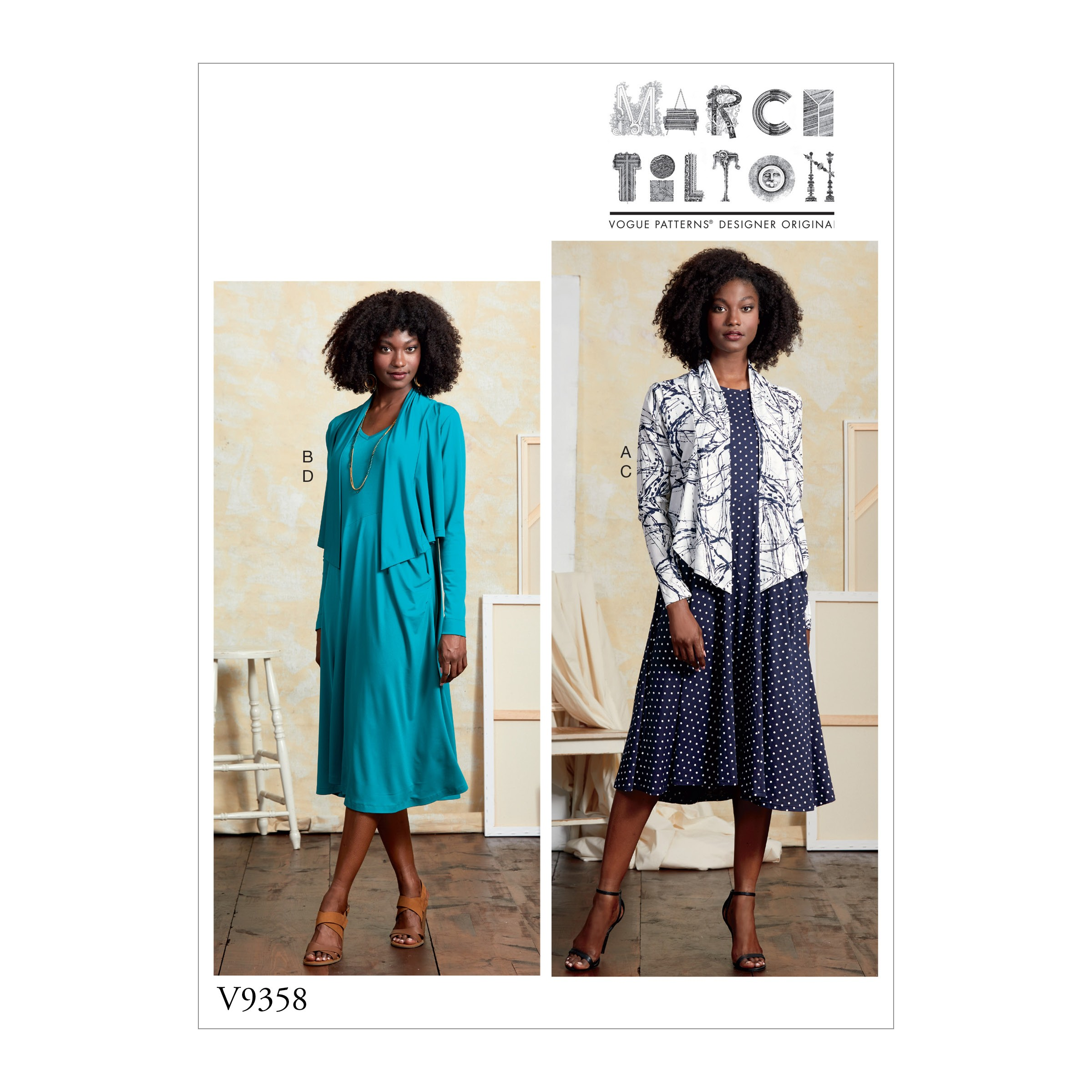 Vogue Sewing Pattern V9358 Women's Pullover Knit Dress and Jacket Shrug