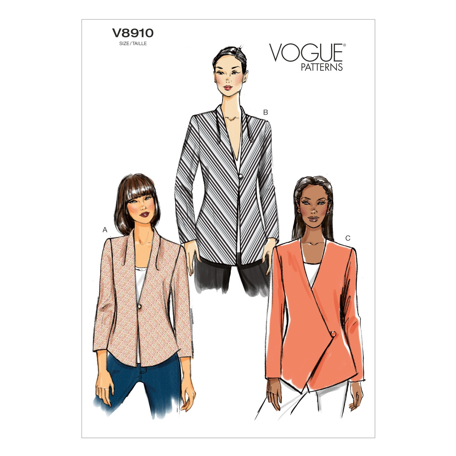 Vogue Sewing Pattern V8910 Women's Jacket With Shoulder Pads