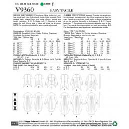Vogue Sewing Pattern V9360 Women's Hi-Low Hem Shirt Blouse Tunic