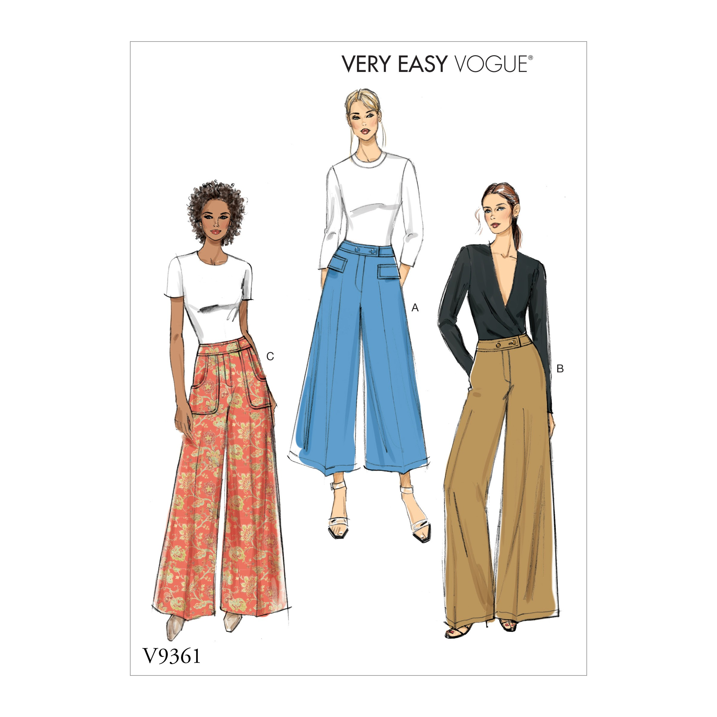 Vogue Sewing Pattern V9361 Women's Flared Wide Leg Trousers
