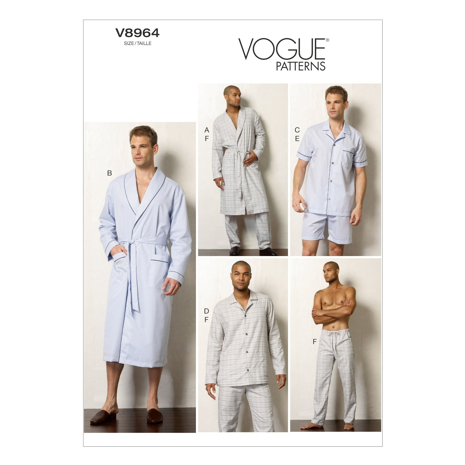 Vogue Sewing Pattern V8964 Men's Robe Top Shorts And Trousers Pyjamas