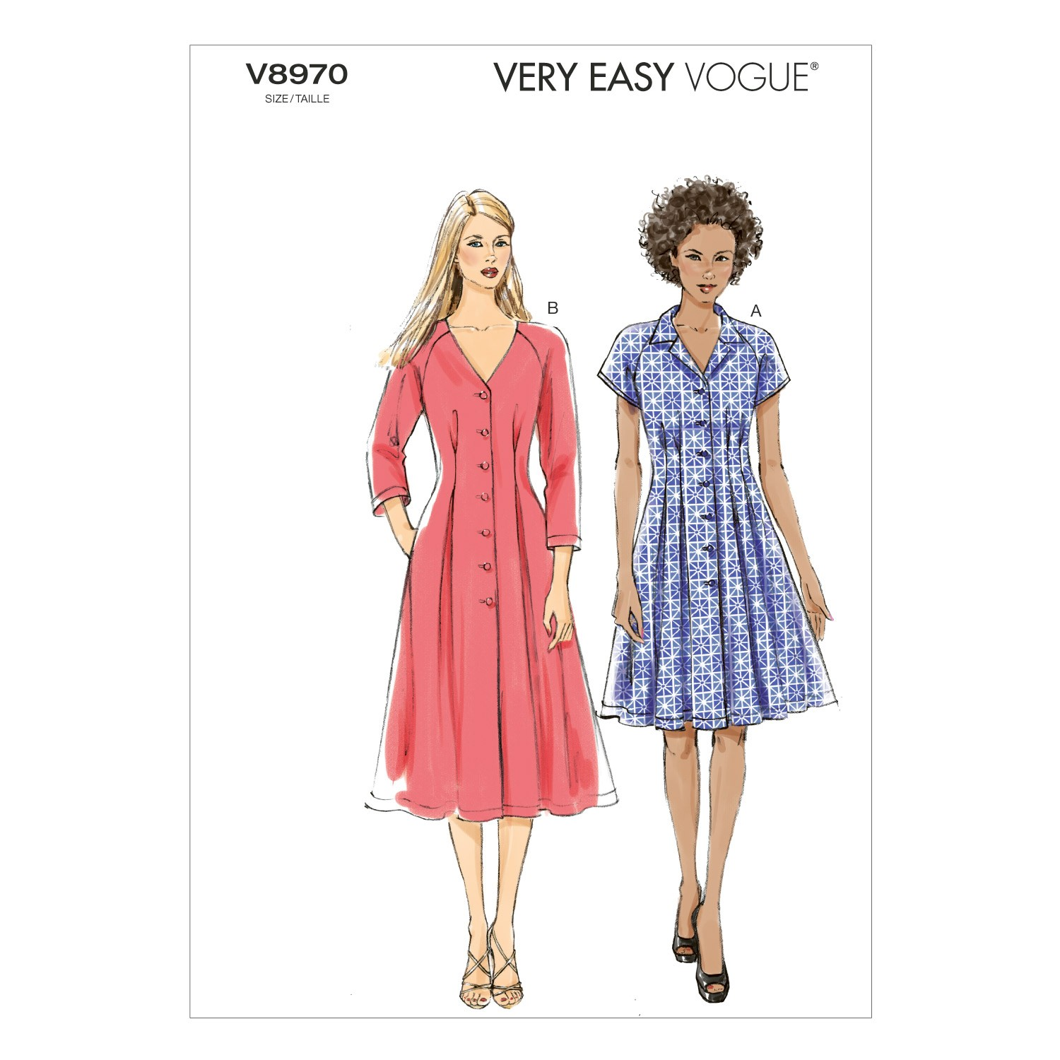 Vogue Sewing Pattern V8970 Women's Buttoned Dress