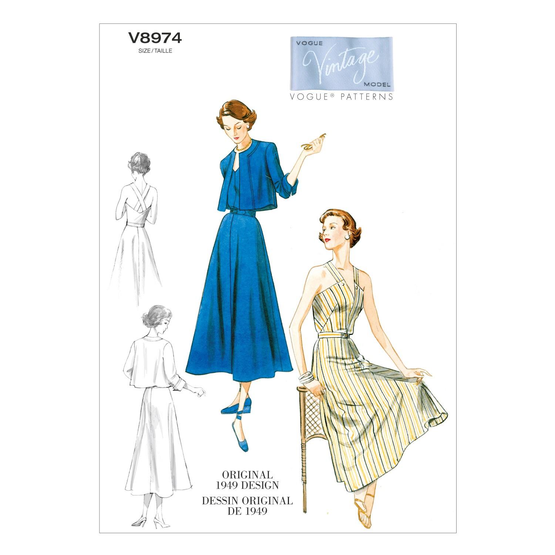 Vogue Sewing Pattern V8974 Women's Vintage Dress Jacket And Belt