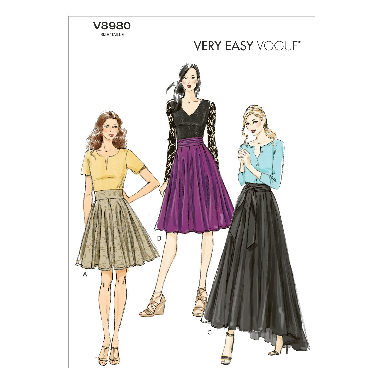Vogue Sewing Pattern V8980 Women's Pleated Skirt