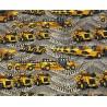 SALE 100% Cotton Fabric Caterpillar Diggers Big Machinery Construction Trucks