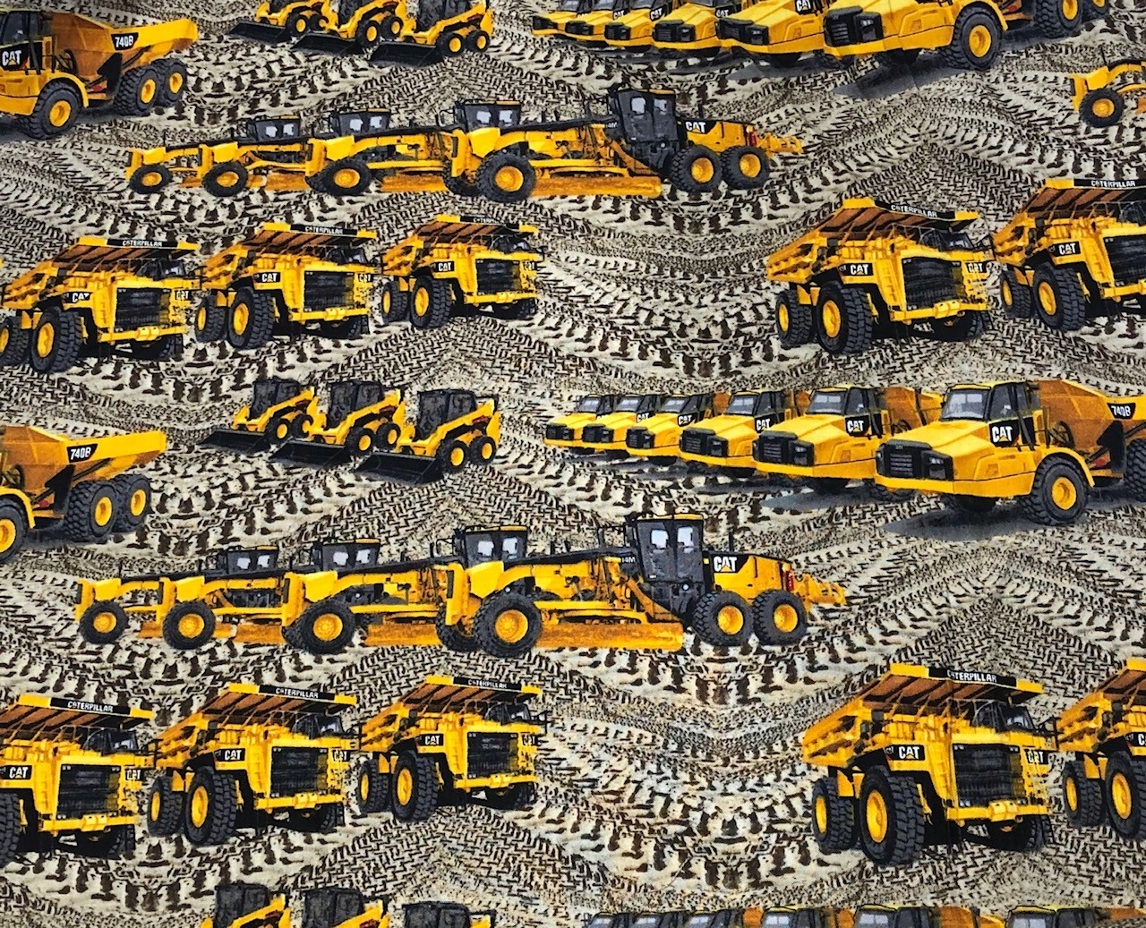 SALE 100% Cotton Fabric Caterpillar Diggers Big Machinery Construction Trucks