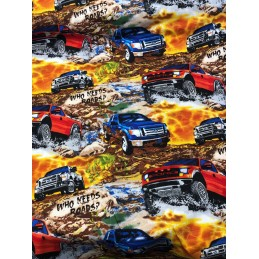 SALE 100% Cotton Fabric Who Needs Roads? Ford Truck Off Road Print Concepts