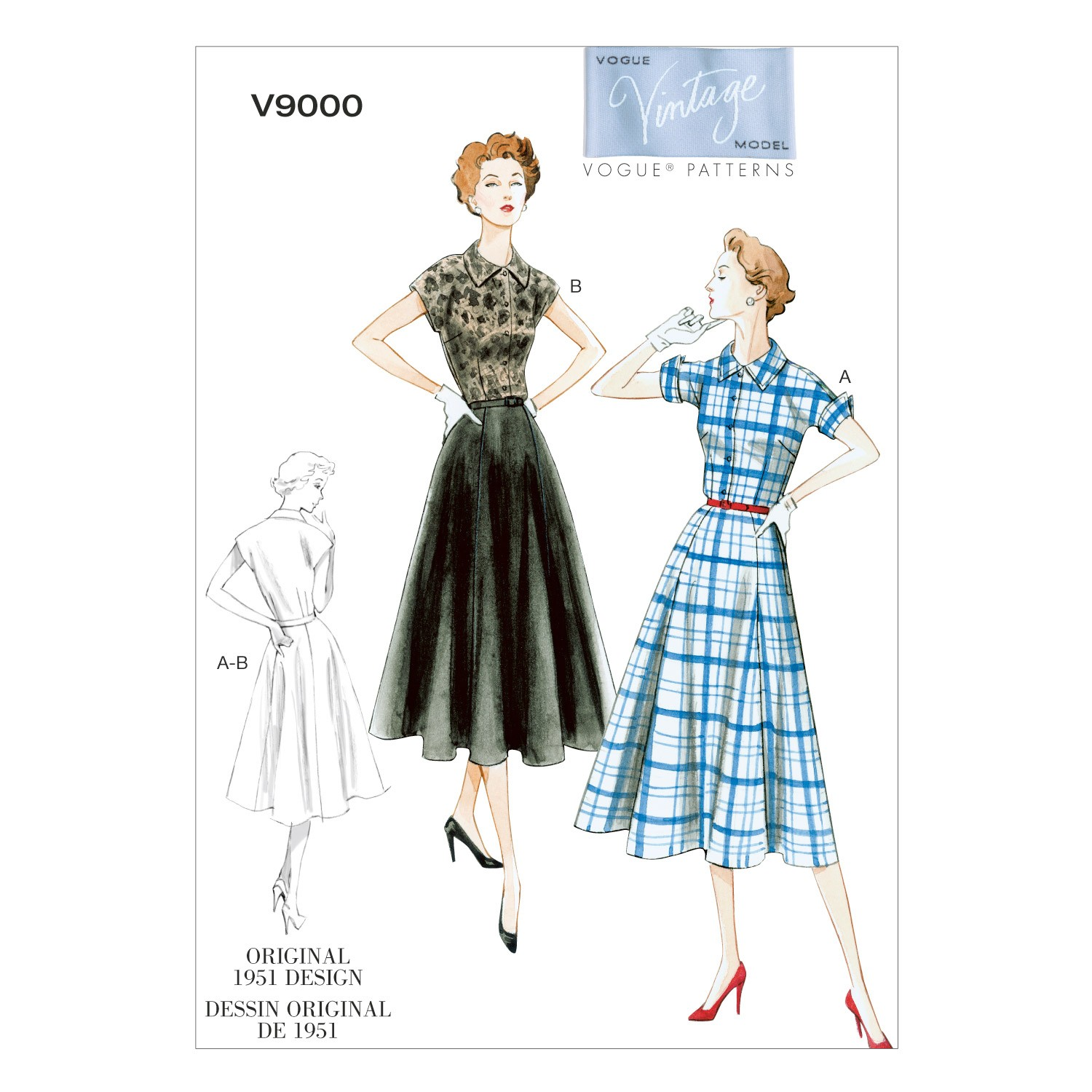 Vogue Sewing Pattern V9000 Women's Vintage Dress And Belt