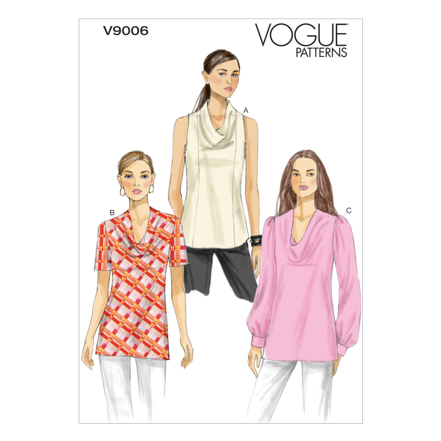 Vogue Sewing Pattern V9006 Women's Top With Draped Neck Line