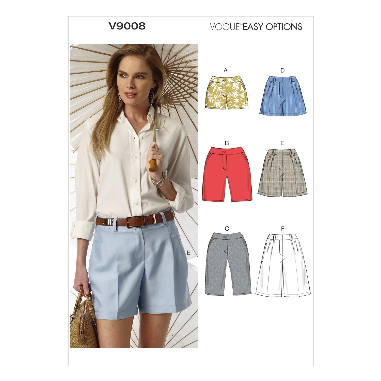 Vogue Sewing Pattern V9008 Women's Misses' Shorts