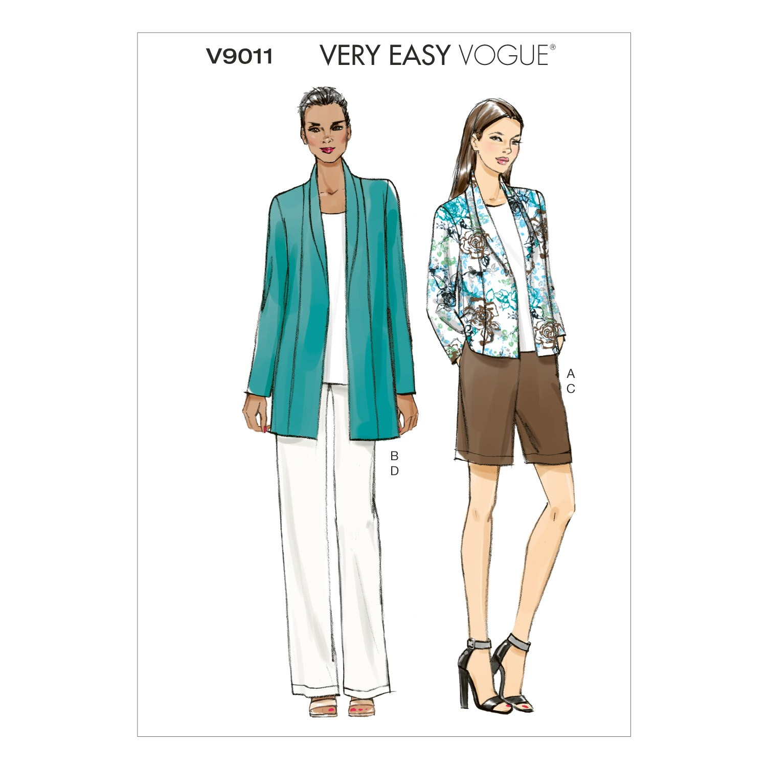 Vogue Sewing Pattern V9011 Women's Jacket Shorts And Trousers