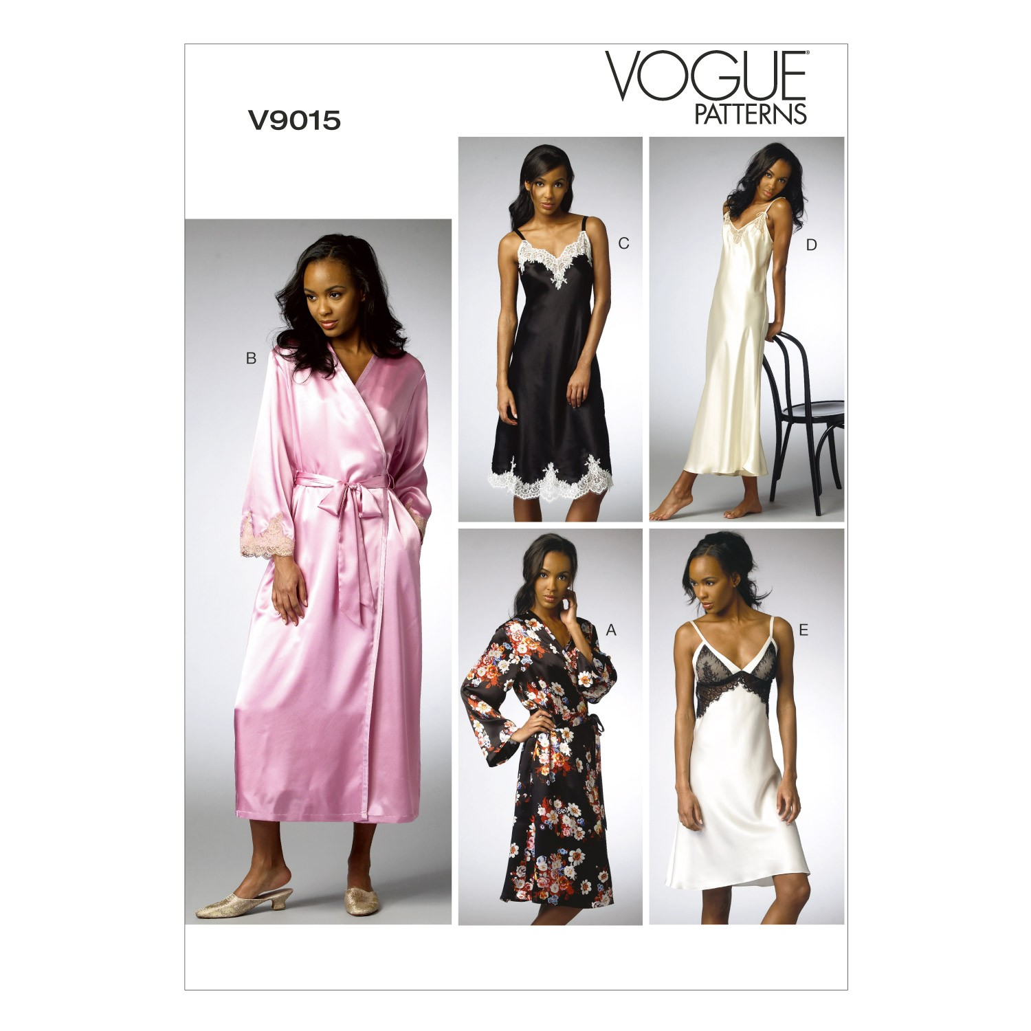 Vogue Sewing Pattern V9015 Women's Robe And Chemise Sleep Wear