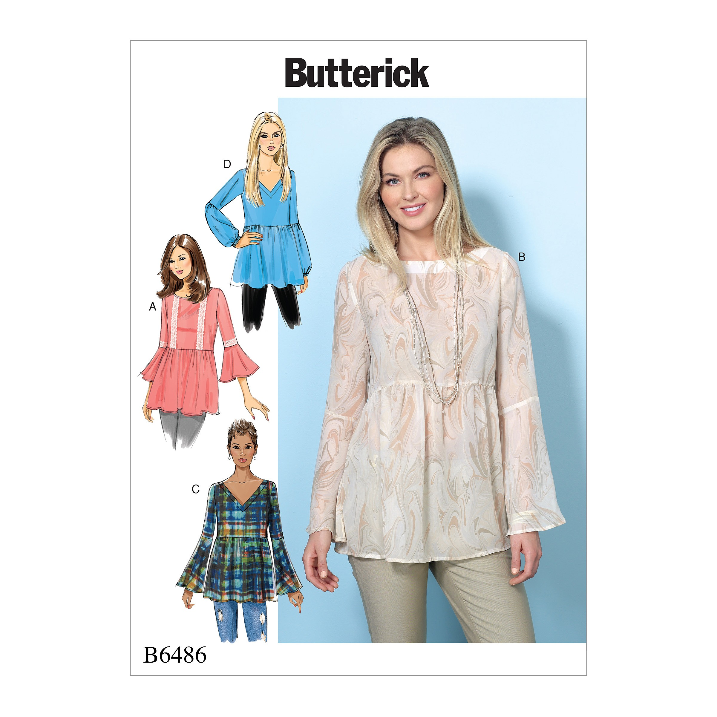 Butterick Sewing Pattern 6486 Misses' Loose Fitting Gathered Waist Tops