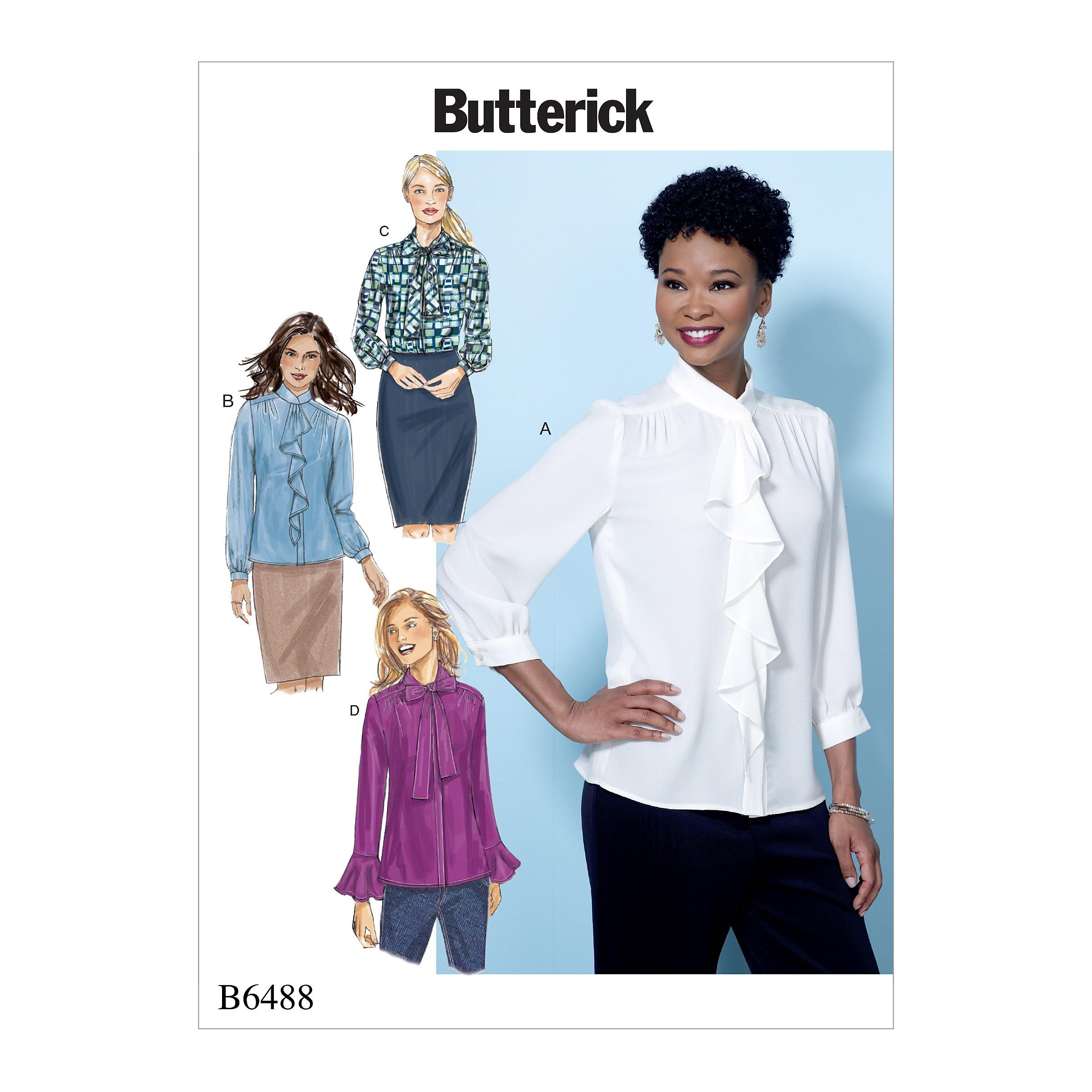Butterick Sewing Pattern 6487 Misses' Tops With Gathered Detail Neck