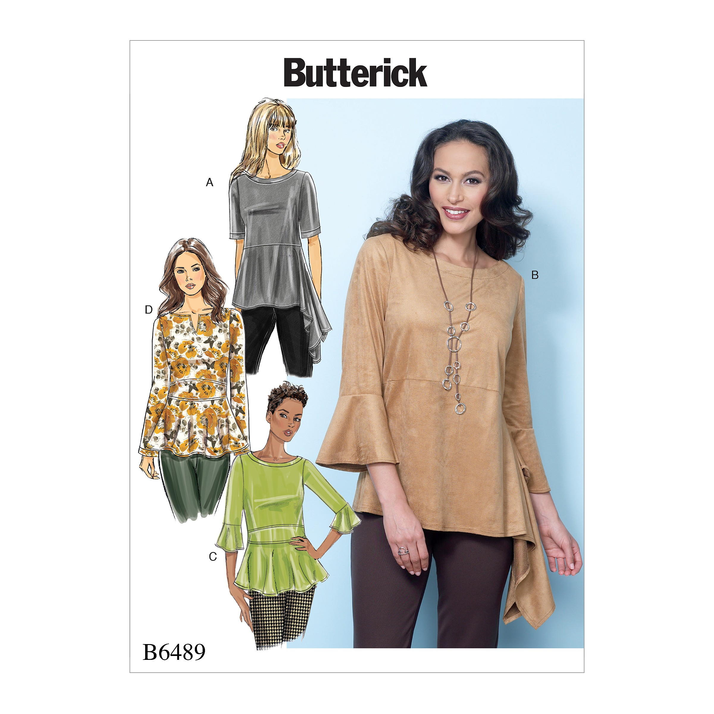 Butterick Sewing Pattern 6489 Misses' Pullover Topswith Sleeve And Peplum Variations.
