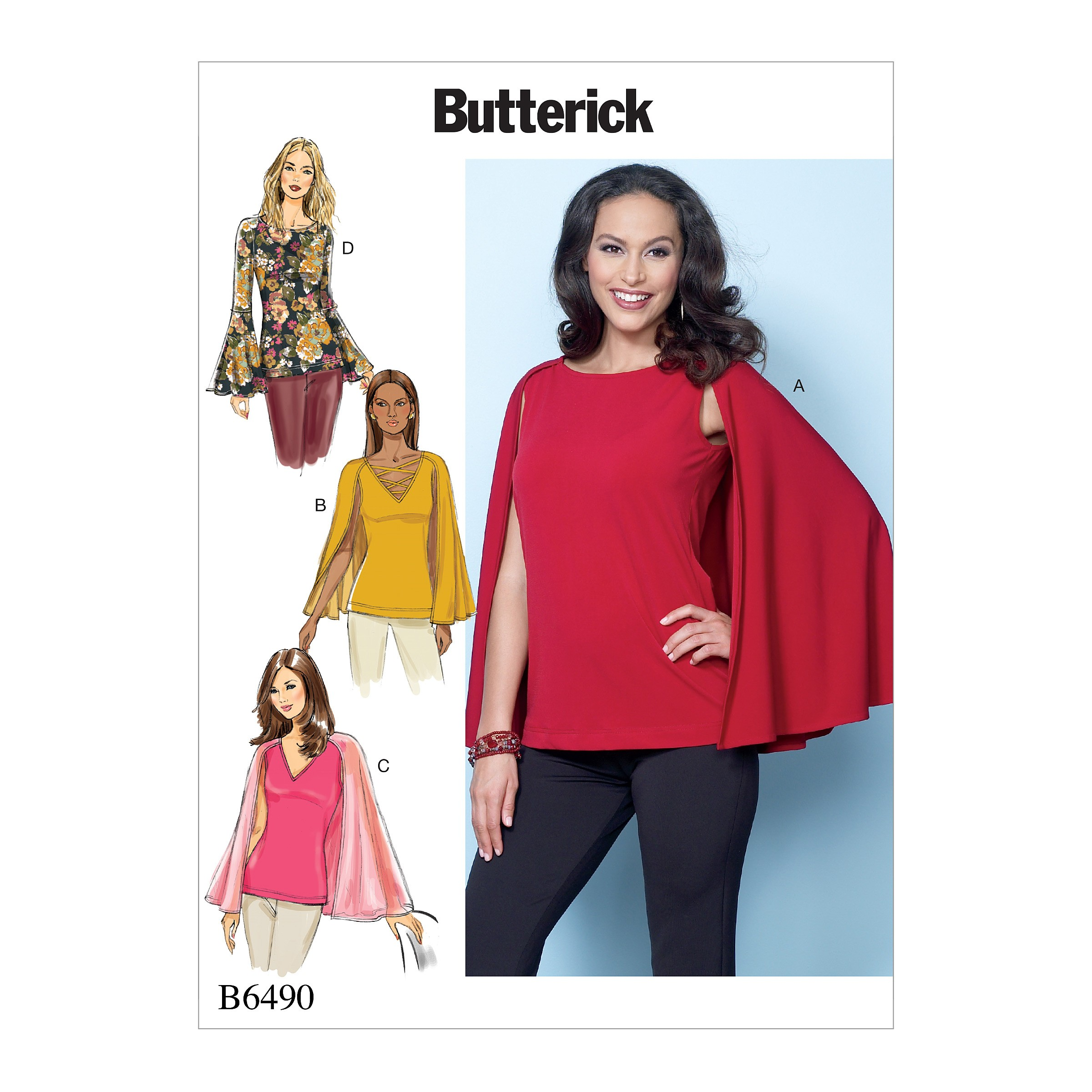 Butterick Sewing Pattern 6490 Misses' Tops With Attached Cape And Sleeve Variations.