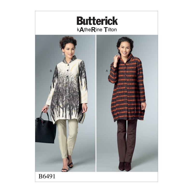 Butterick Sewing Pattern 6491 Misses' Loose Shirts With Stand Collar, Shaped Hem And Tucks