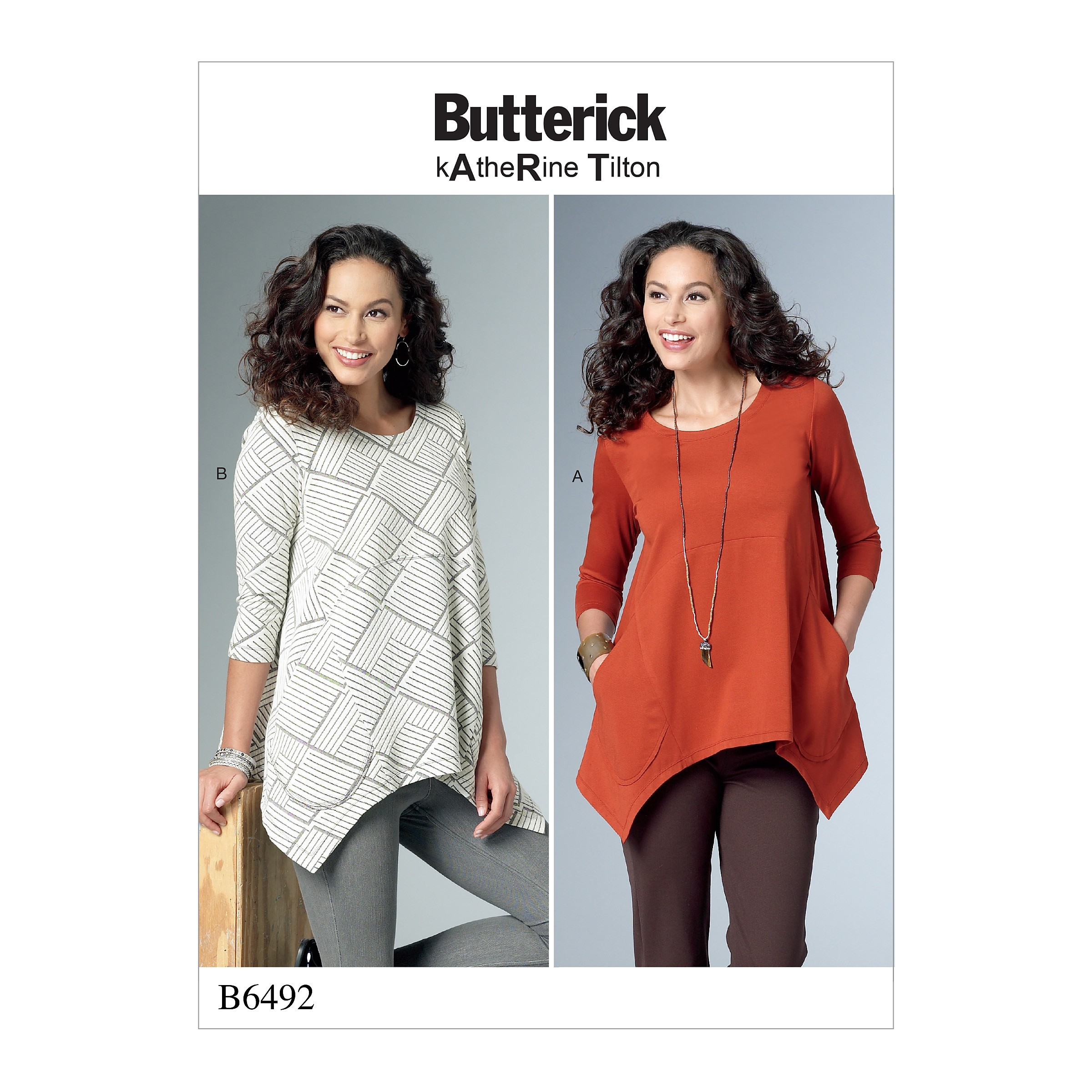 Butterick Sewing Pattern 6492 Misses' Loose Knit Tunics With Shaped Sides And Pockets.