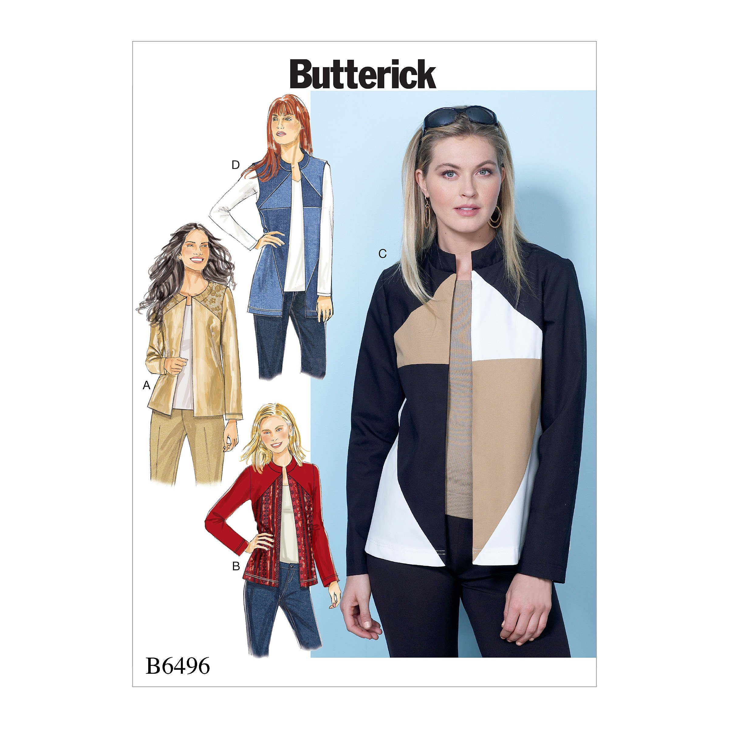 Butterick Sewing Pattern 6496 Misses' Jackets & Vests Contrast & Seam Variations