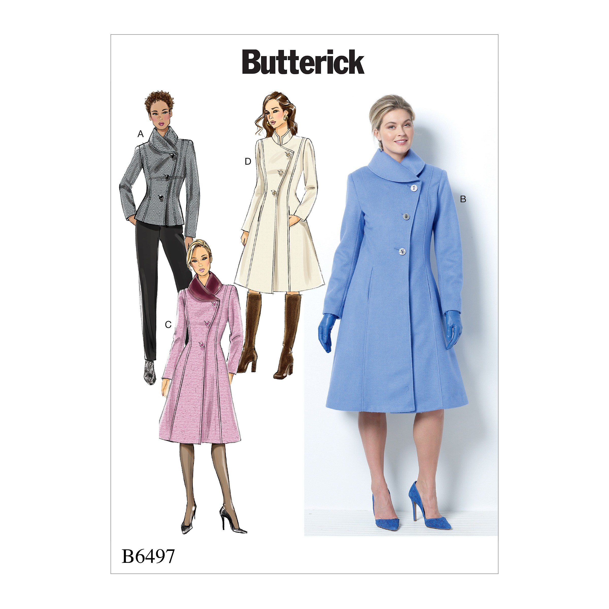 Butterick Sewing Pattern 6497 Misses' Petite Jacket Front & Collar Variations