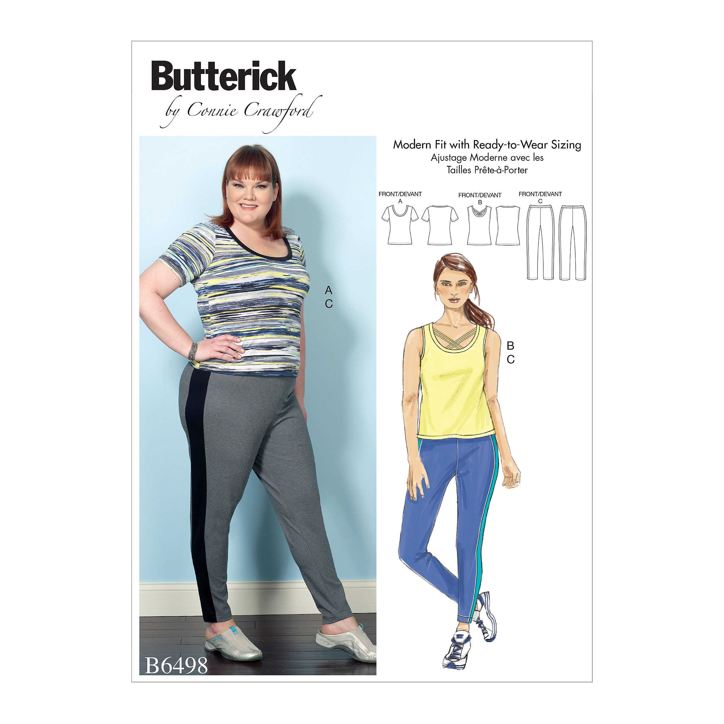 Butterick Sewing Pattern 6498 Misses' Knit Tops & Elastic-Waist Trousers