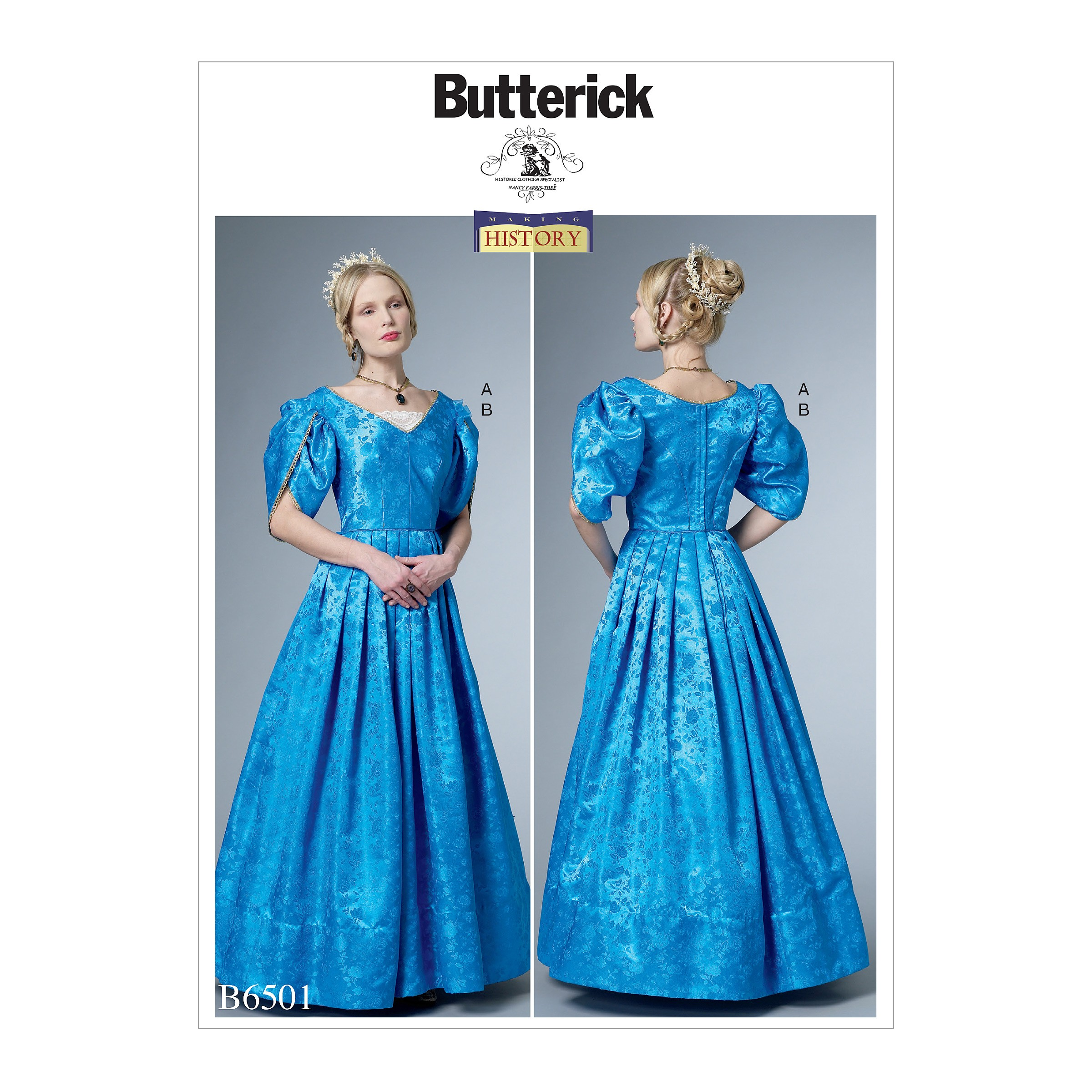 Butterick Sewing Pattern 6501Misses' Dress Boned Bodice, Lined Tulip Sleeves