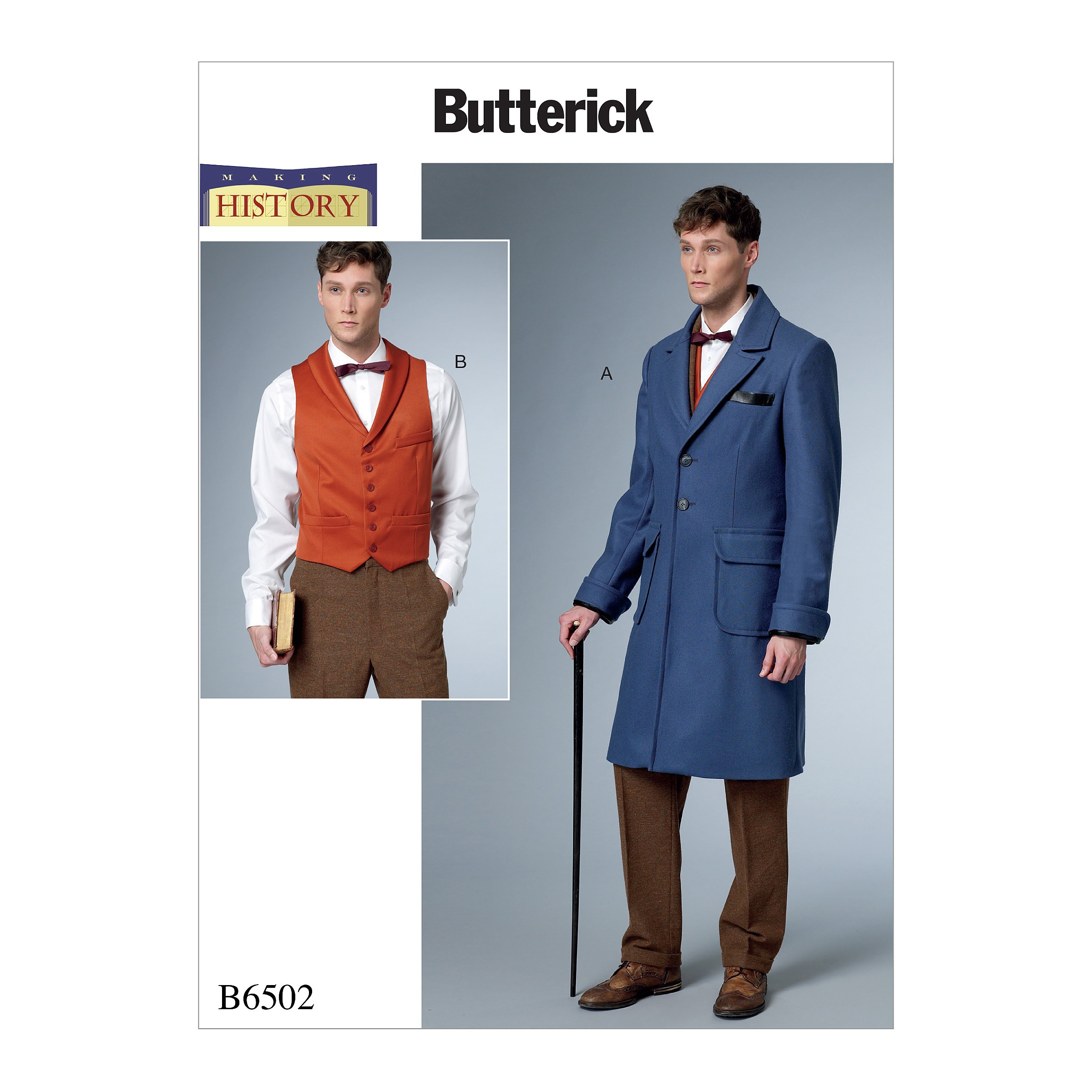 Butterick Sewing Pattern 6502 Men's Single-Breasted Lined Coat With Back Belt.
