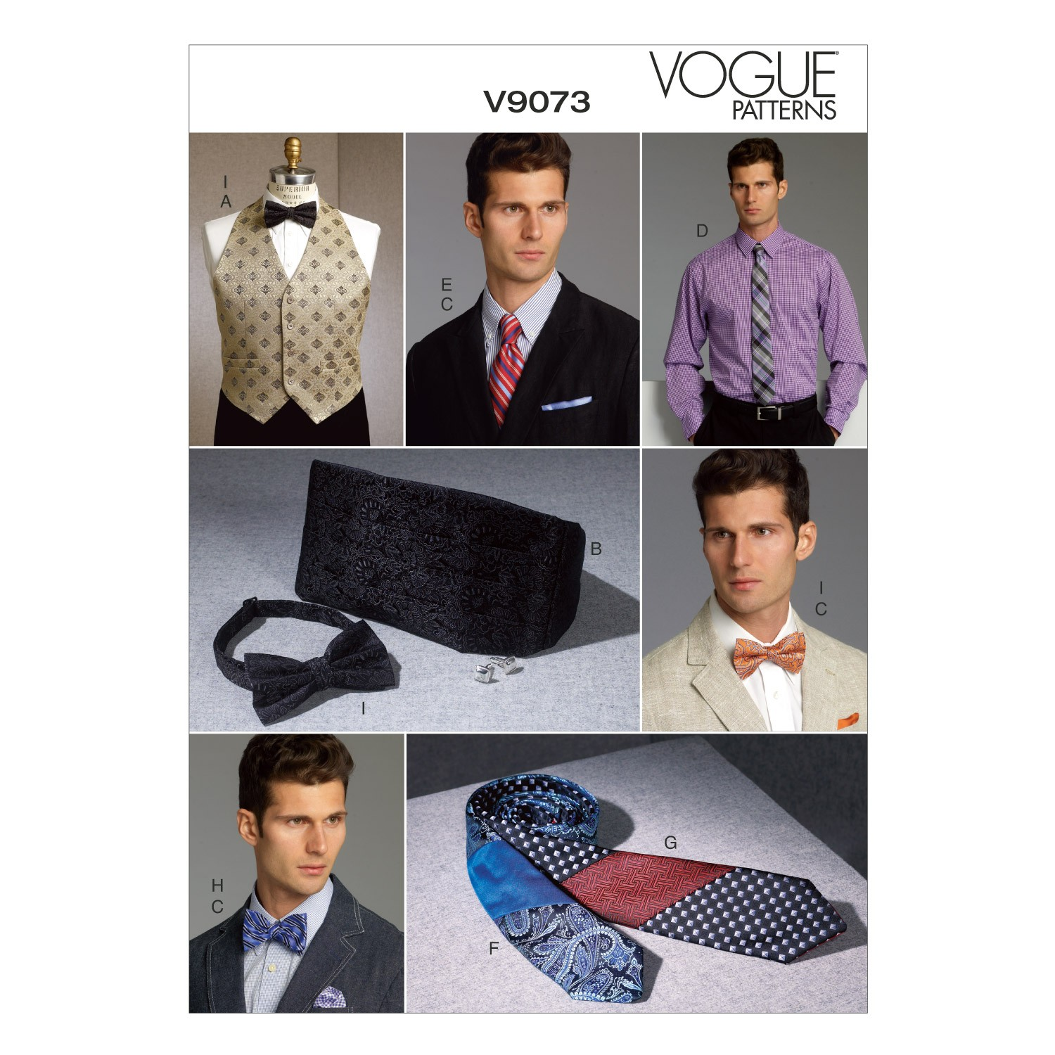 Vogue Sewing Pattern V9073 Men's Vest Cummerbund Pocket Square & Ties