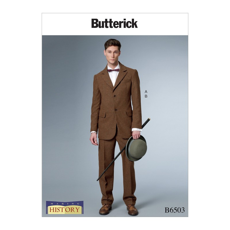 Butterick Sewing Pattern 6503 Men's Single-Breasted Lined Coat With Back Vent.