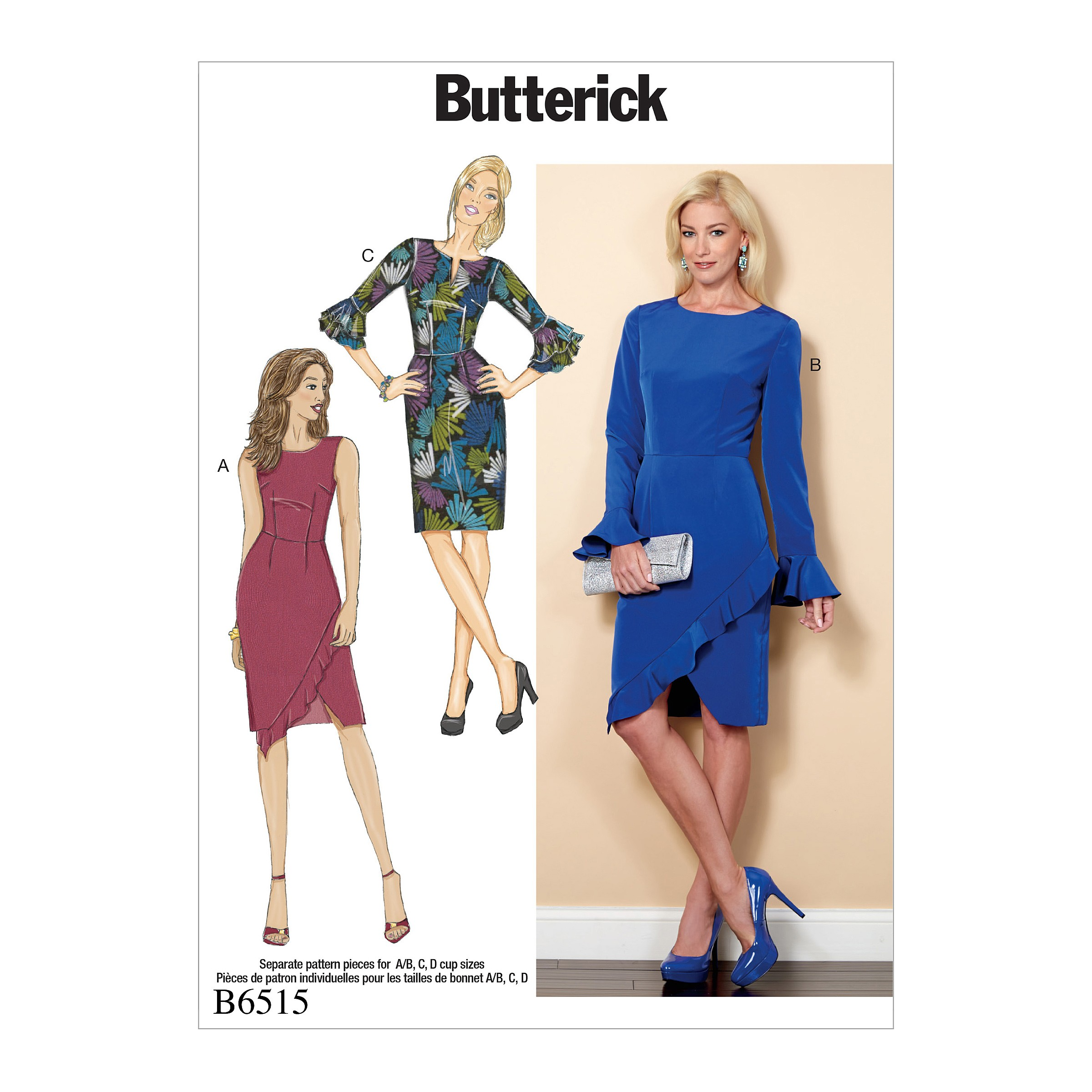 Butterick Sewing Pattern 6515 Misses' Dress With Ruffle Variations
