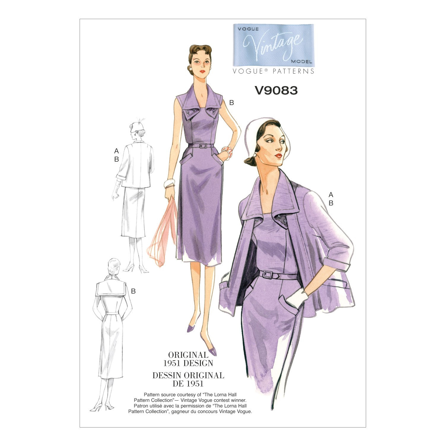 Vogue Sewing Pattern V9083 Women's Vintage Jacket Dress And Belt