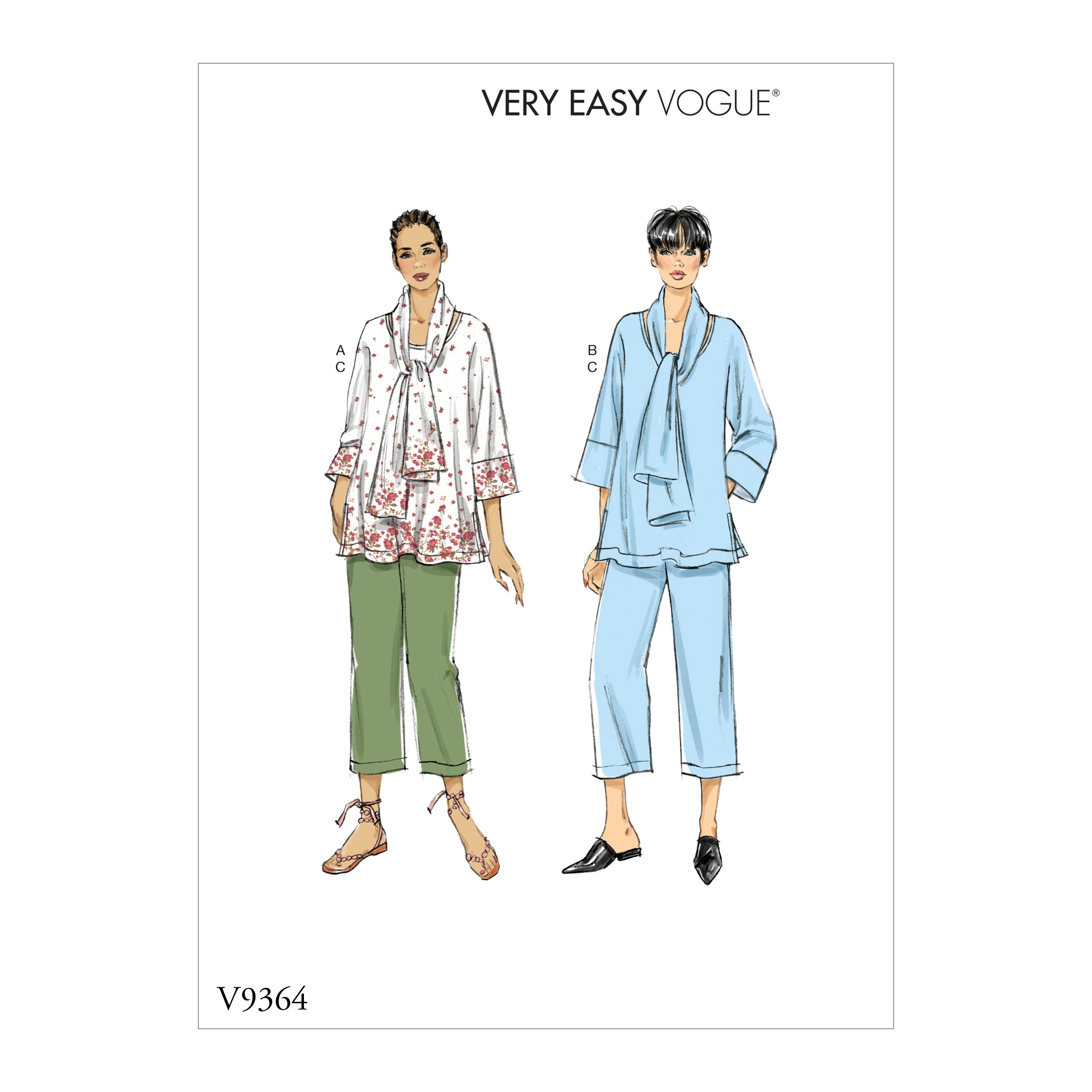Vogue Sewing Pattern V9367 Women's Top Scarf And Trousers