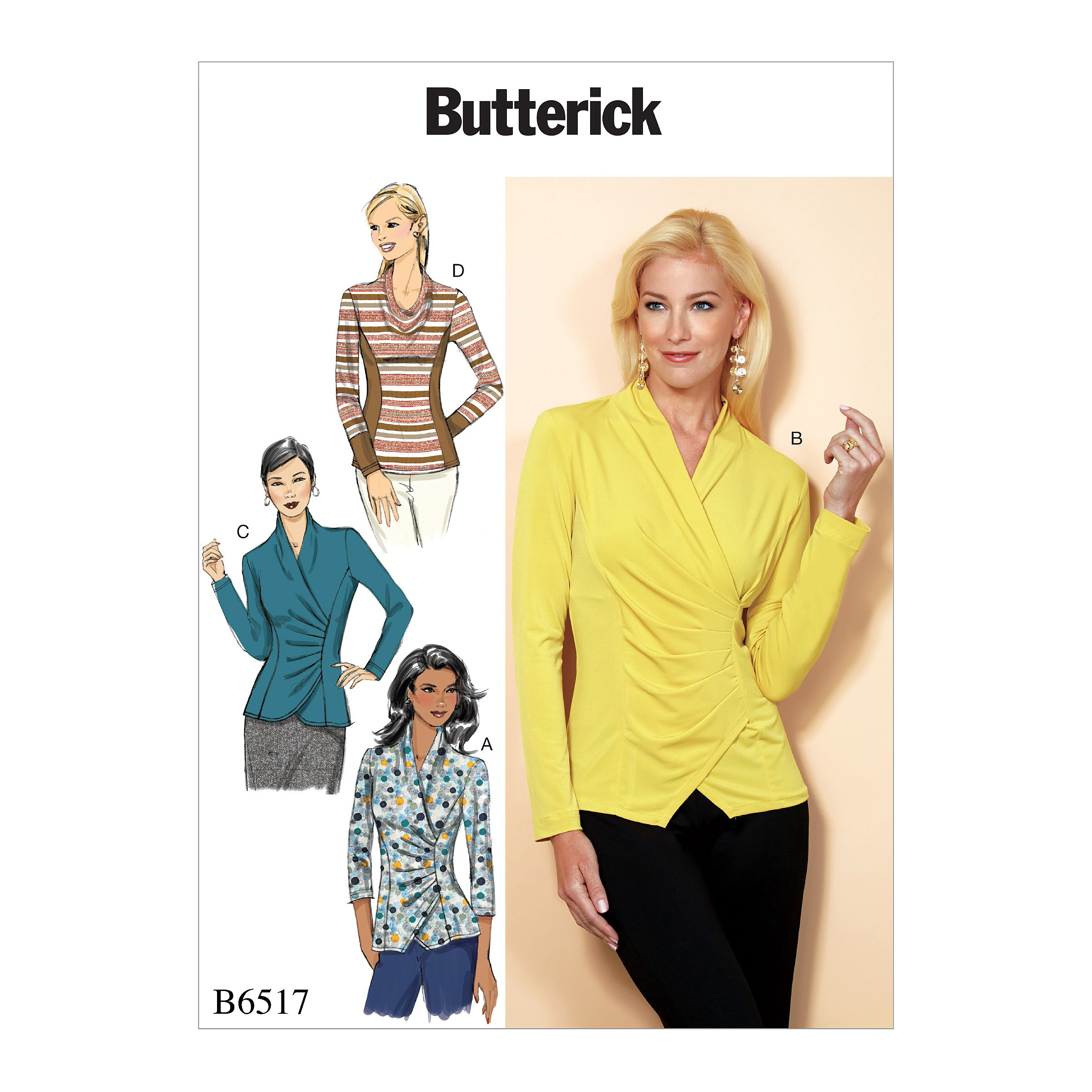 Butterick Sewing Pattern 6517 Misses'Top With Pleat And Options