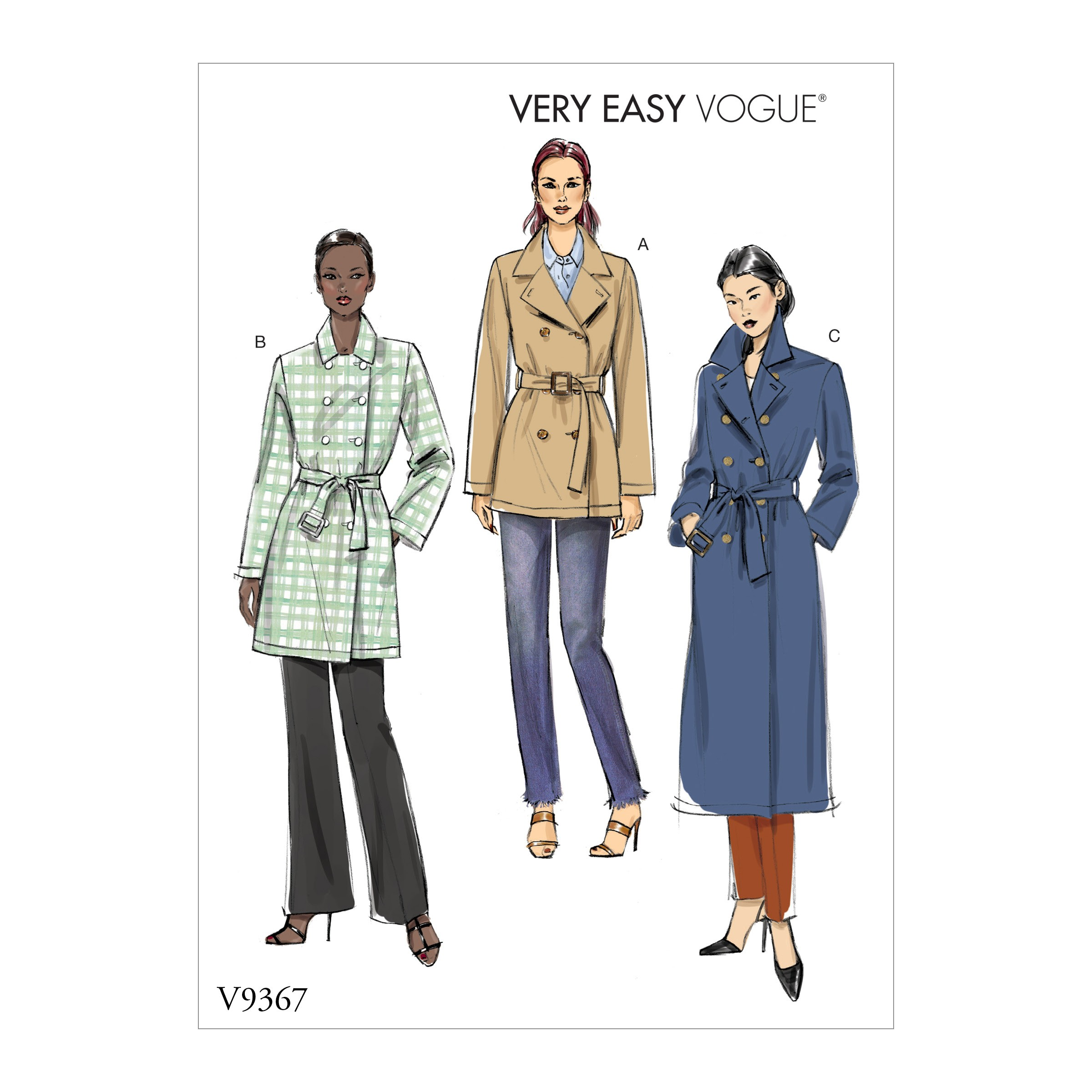 Vogue Sewing Pattern V9367 Women's Double Breasted Buttoned Coat & Belt
