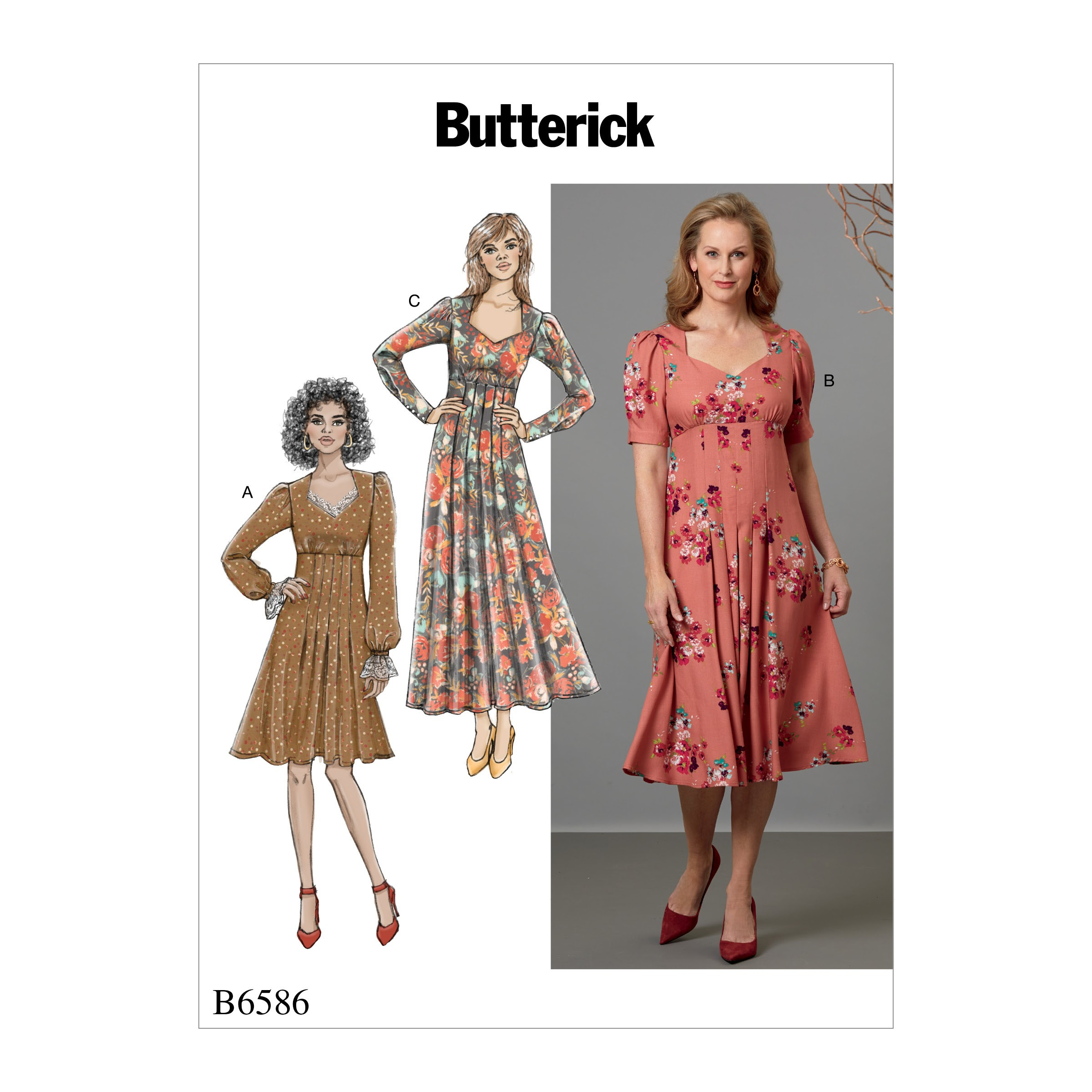 Butterick Sewing Pattern 6586 Misses' Dress with Sweetheart Neckline