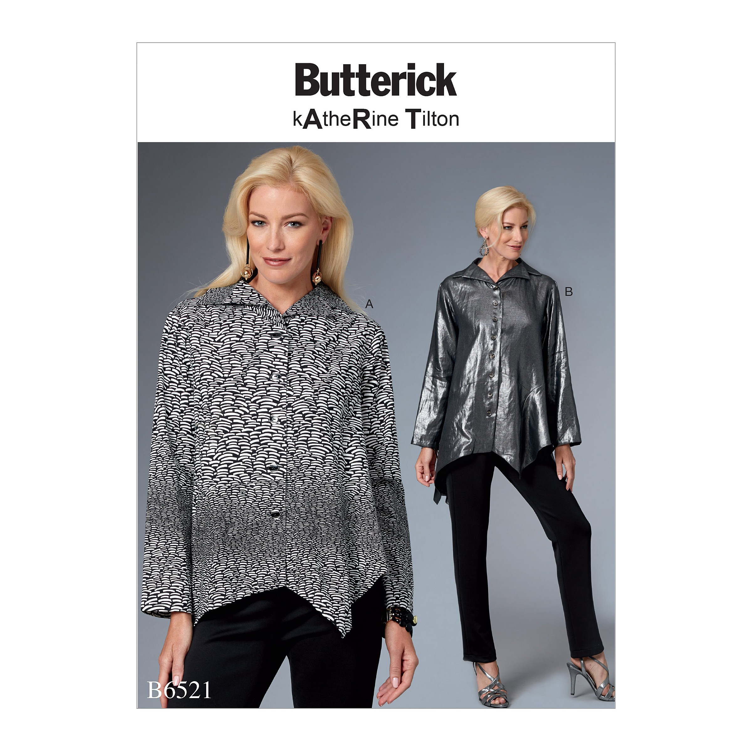 Butterick Sewing Pattern 6521 Misses'Top With Asymmetrical Hem