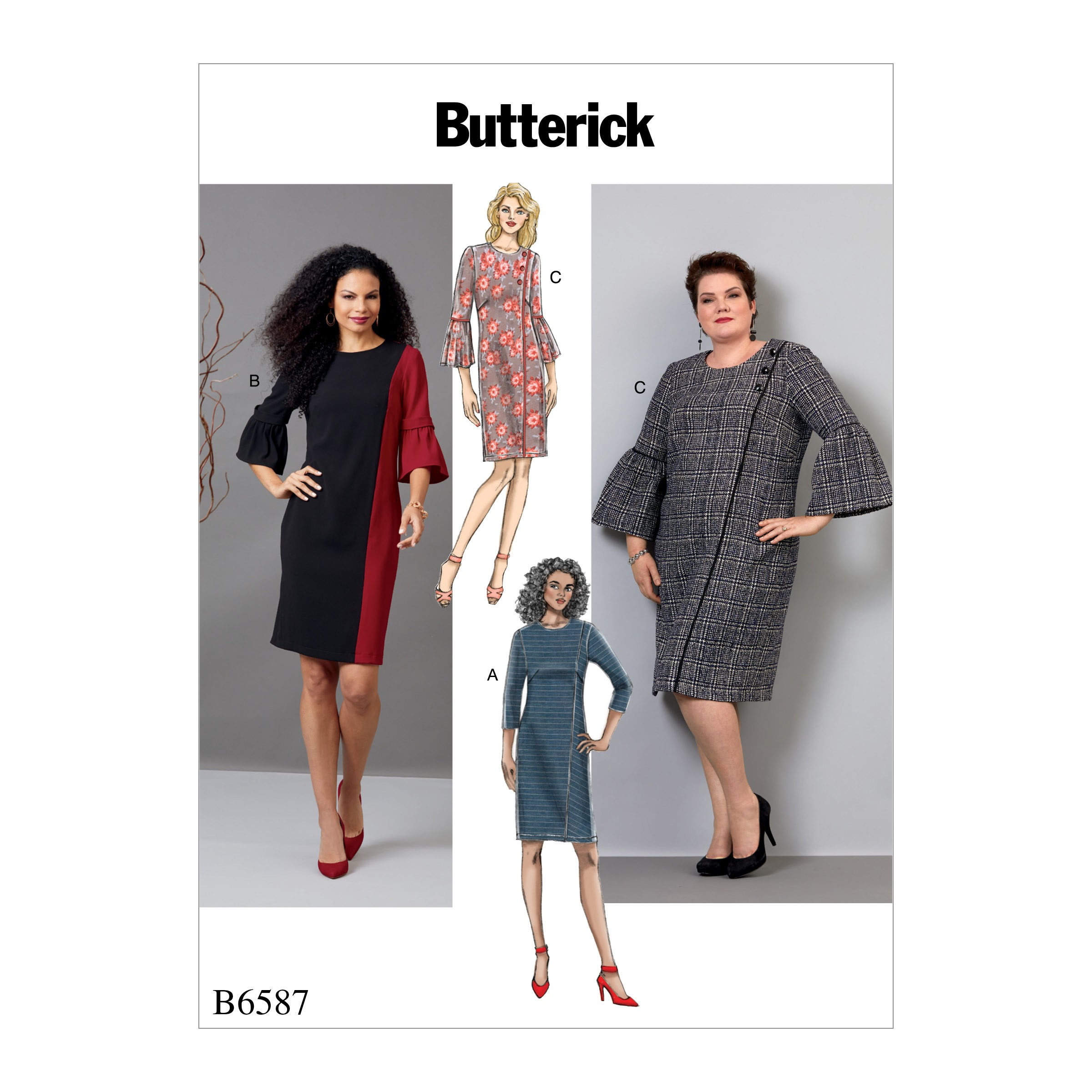 Butterick Sewing Pattern 6587 Misses' Semi Fitted Dress with Sleeve Options