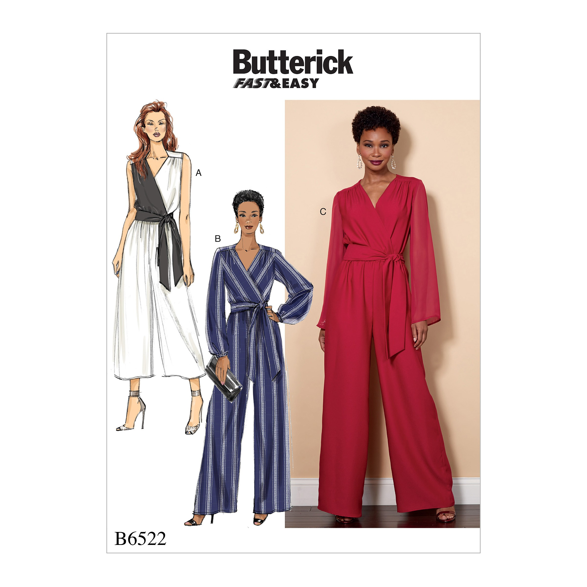 Butterick Sewing Pattern 6522 Misses'/Women's Jumpsuit And Sash