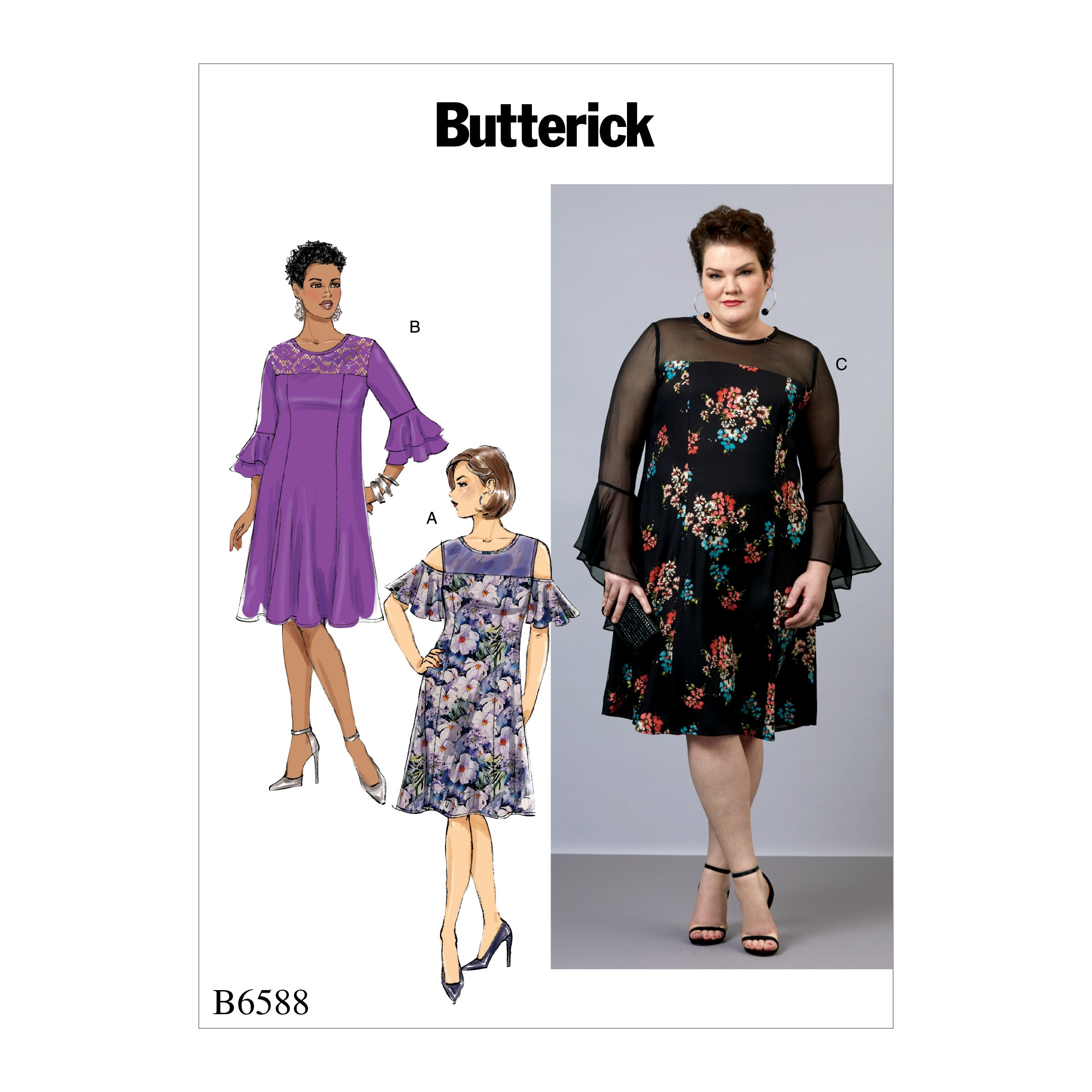 Butterick Sewing Pattern 6588 Misses' Dress with Ruffle Sleeve Options