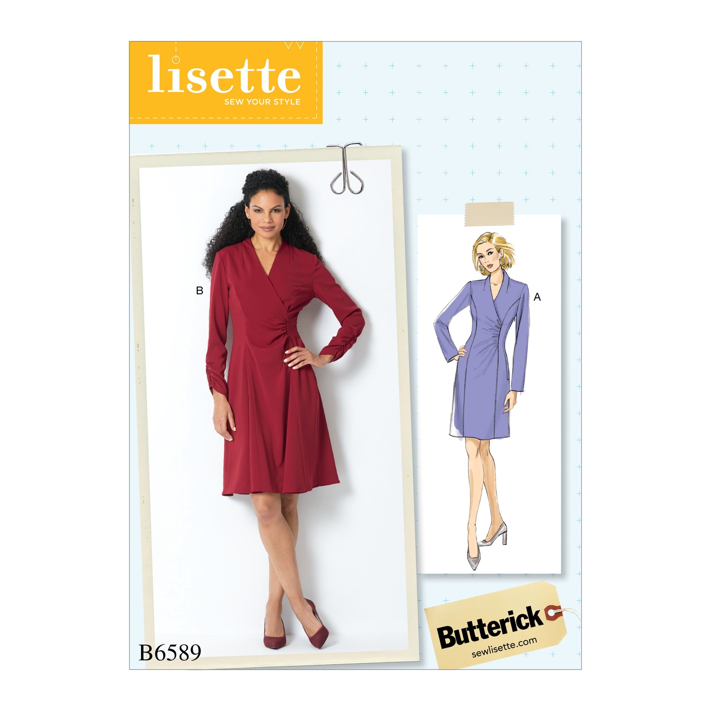 Butterick Sewing Pattern 6589 Misses' Faux Wrap Gathered Dress