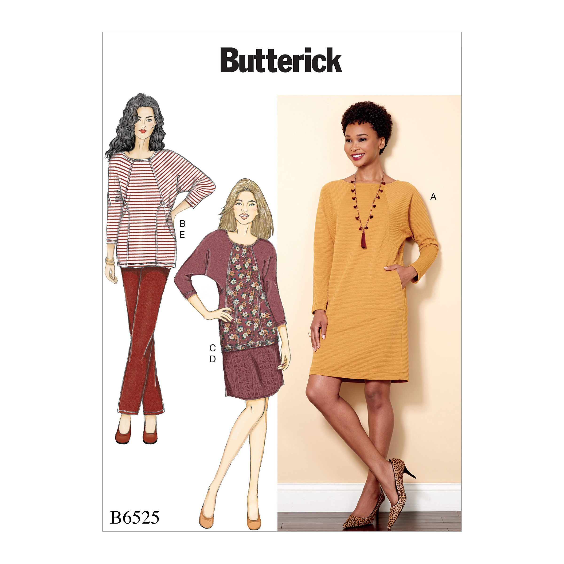 Butterick Sewing Pattern 6525 Misses'Knit Dress And Tunic, Skirt, And Trousers