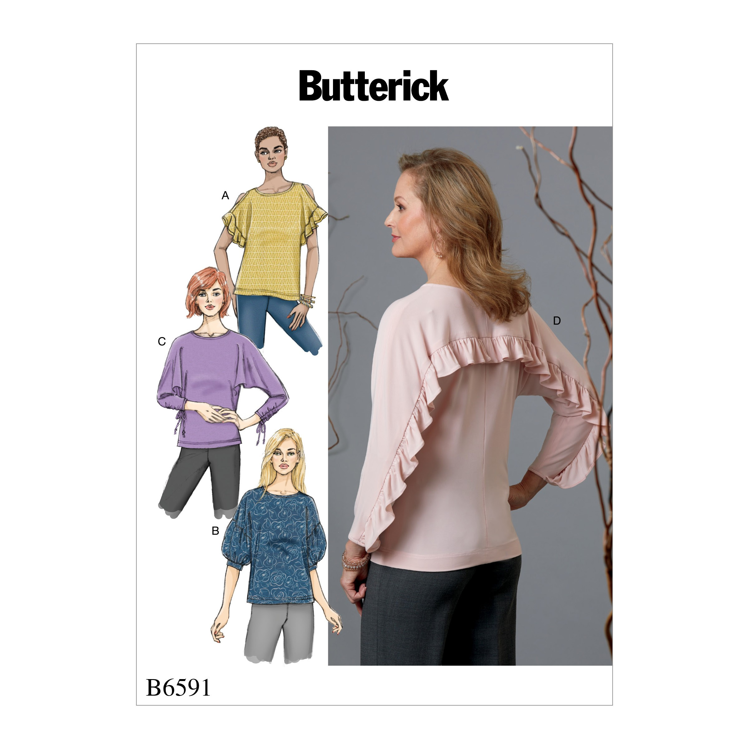 Butterick Sewing Pattern 6591 Misses' Pullover tops with Sleeve Variations