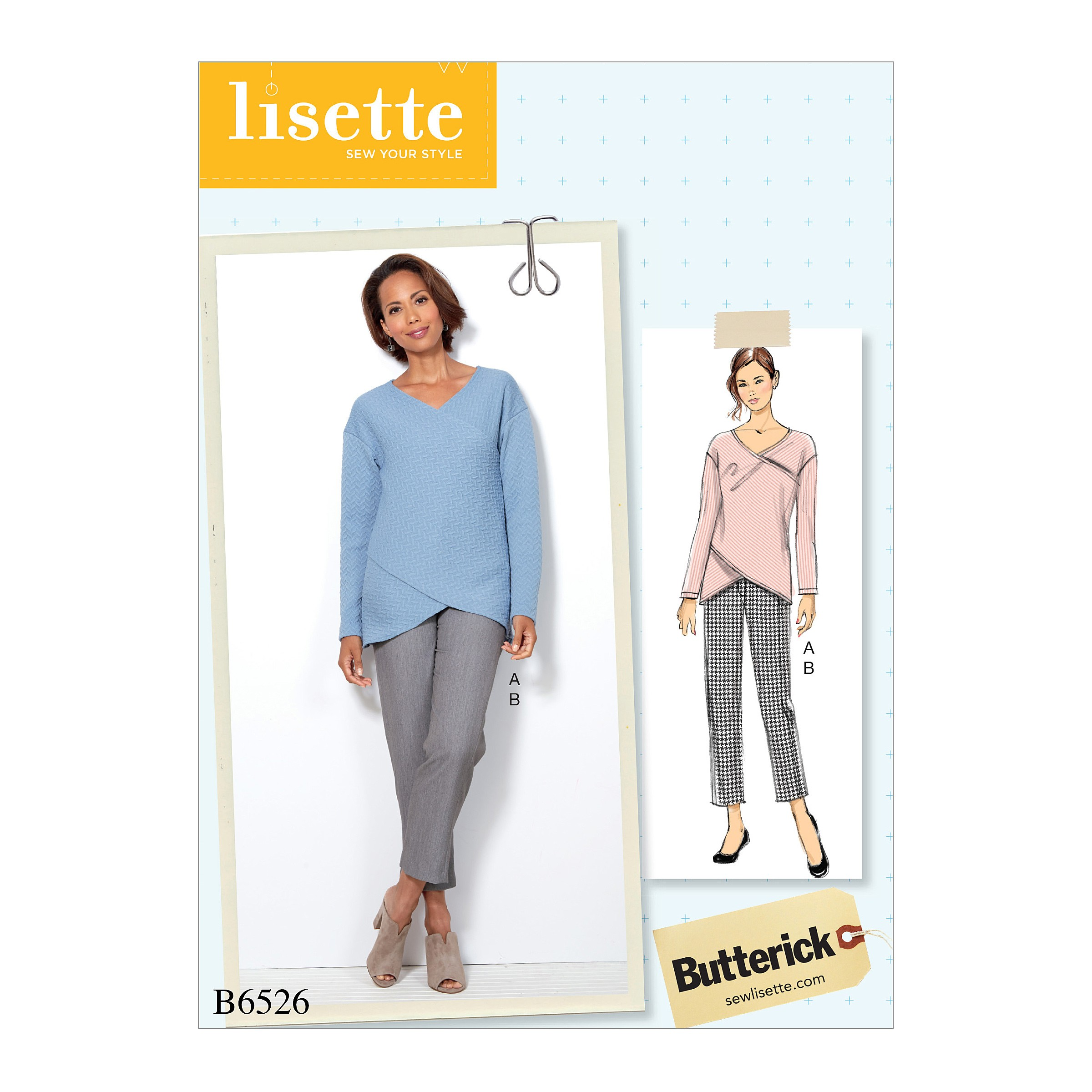 Butterick Sewing Pattern 6526 Misses' Crossover Knit Top And Side-Seam-Detail Trousers