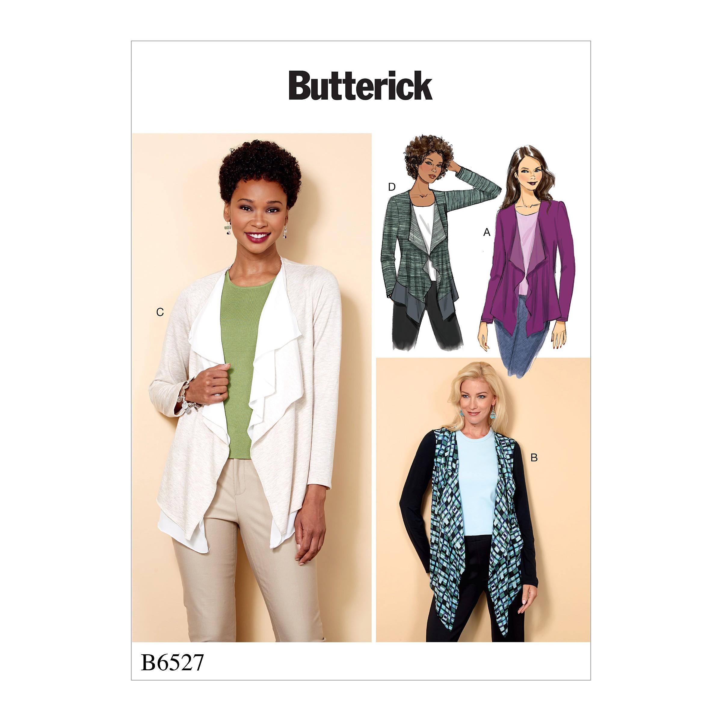 Butterick Sewing Pattern 6527 Misses' Cascade-Collar Knit Jacket