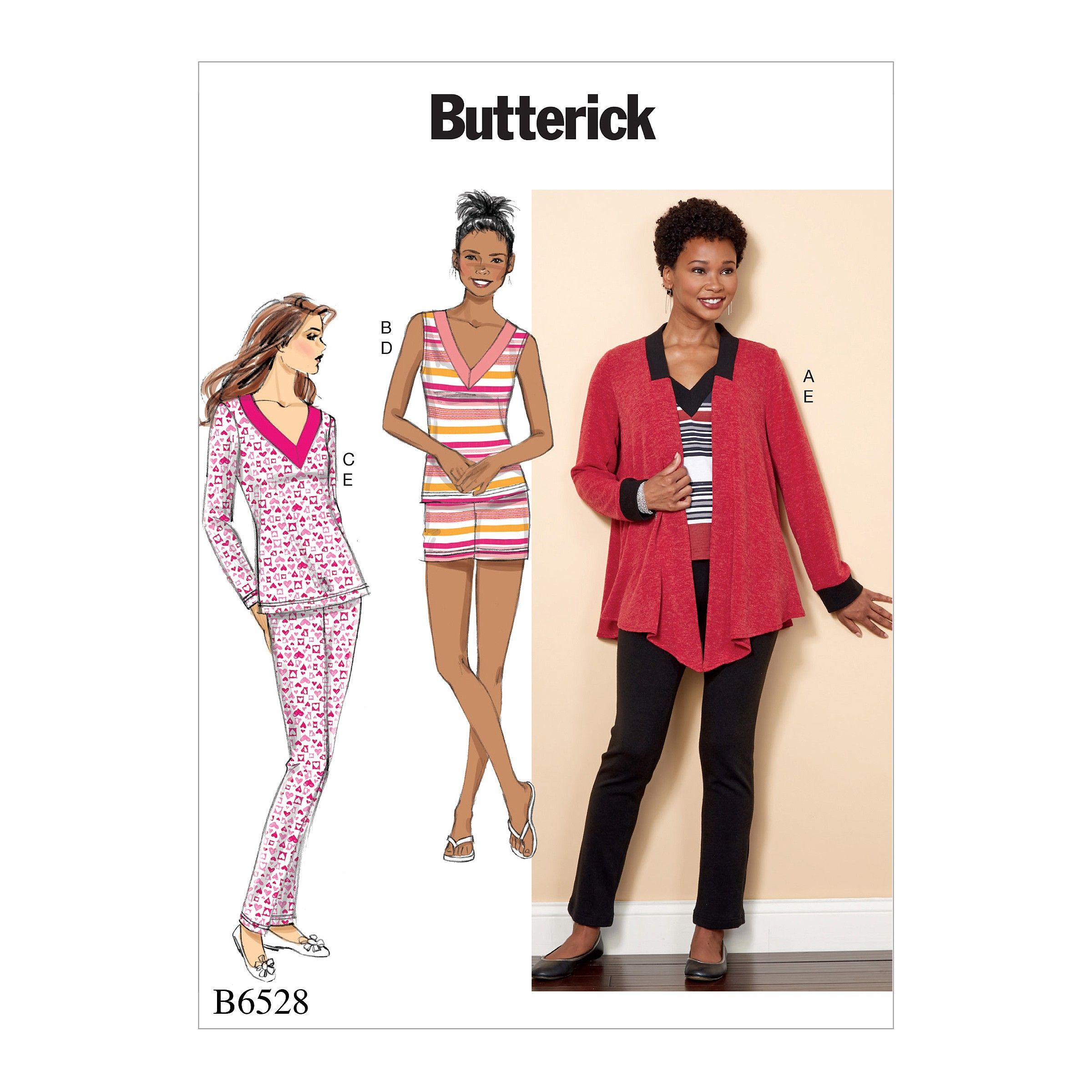 Butterick Sewing Pattern 6528 Misses' Knit Jacket, Top, Shorts And Trousers