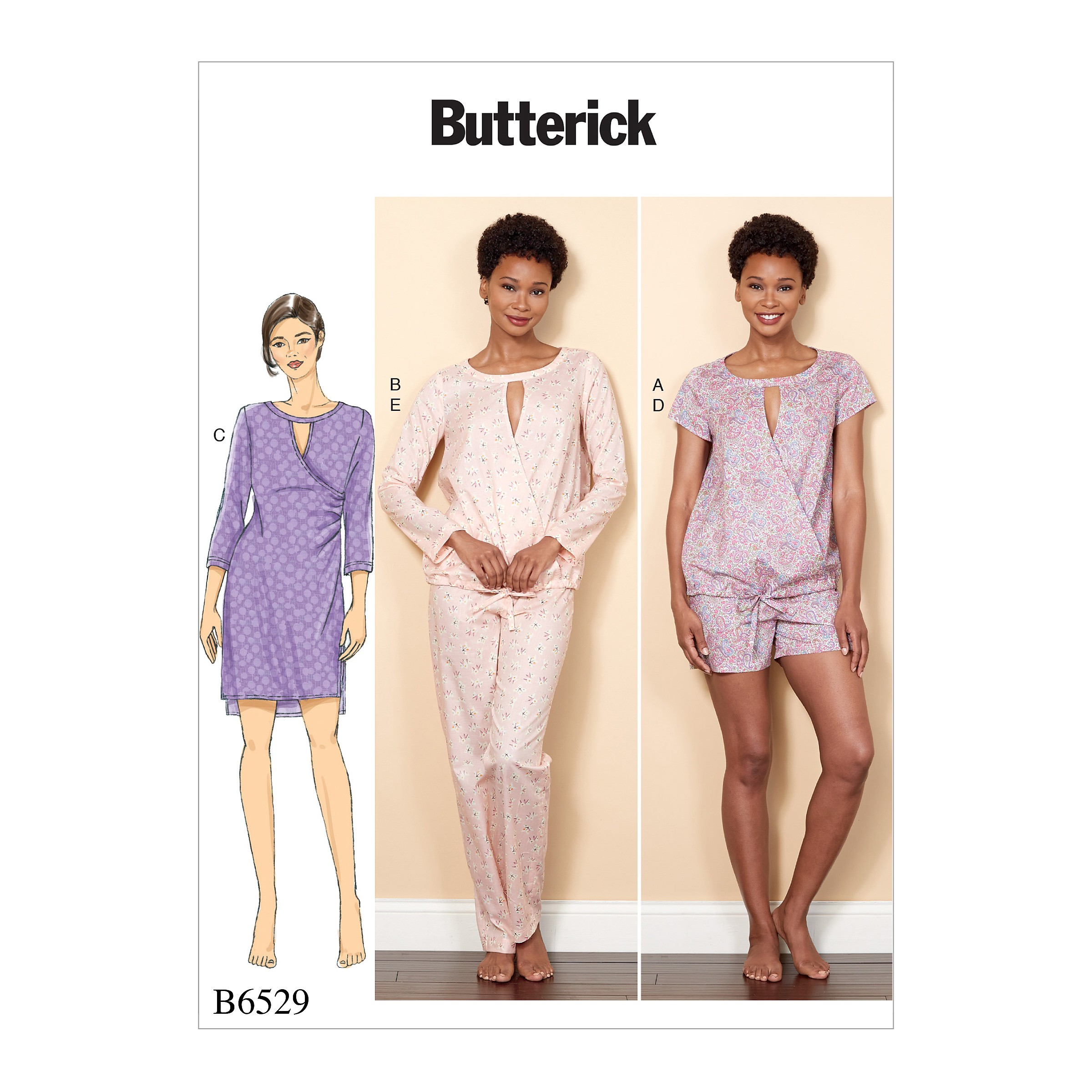 Butterick Sewing Pattern 6529 Misses' Crossover Top, Dress, Shorts And Trousers
