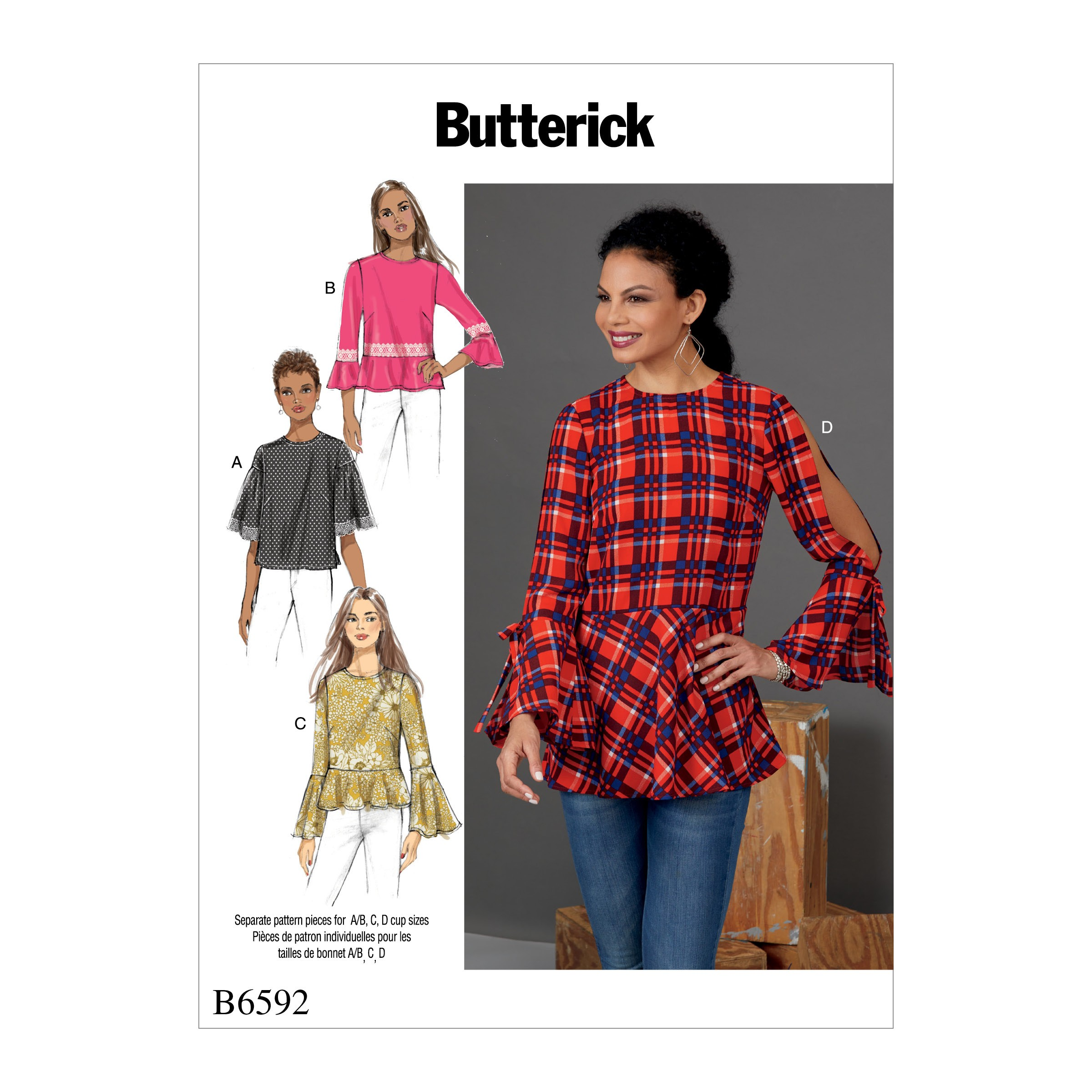 Butterick Sewing Pattern 6592 Misses' Tops with Flared Sleeve Variations