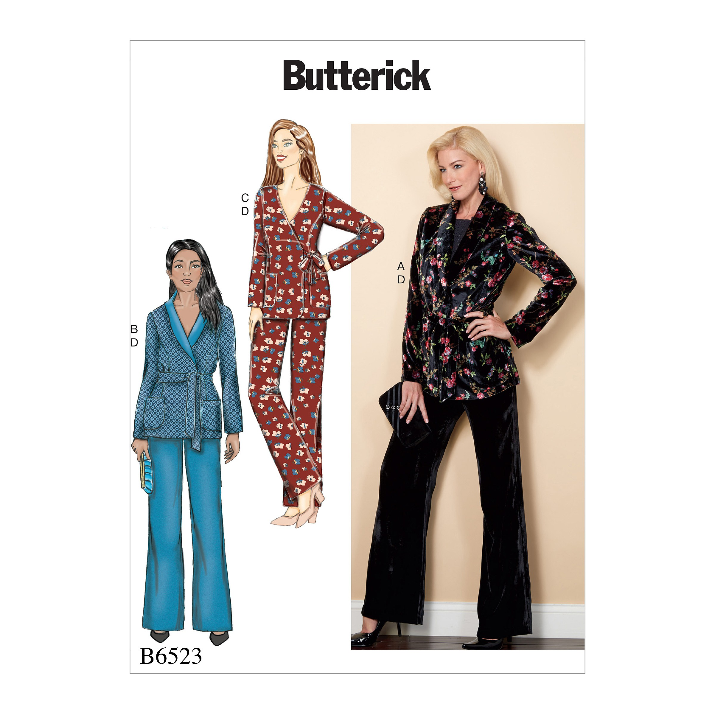 Butterick Sewing Pattern 6523 Misses' Jacket, Sash And Trousers